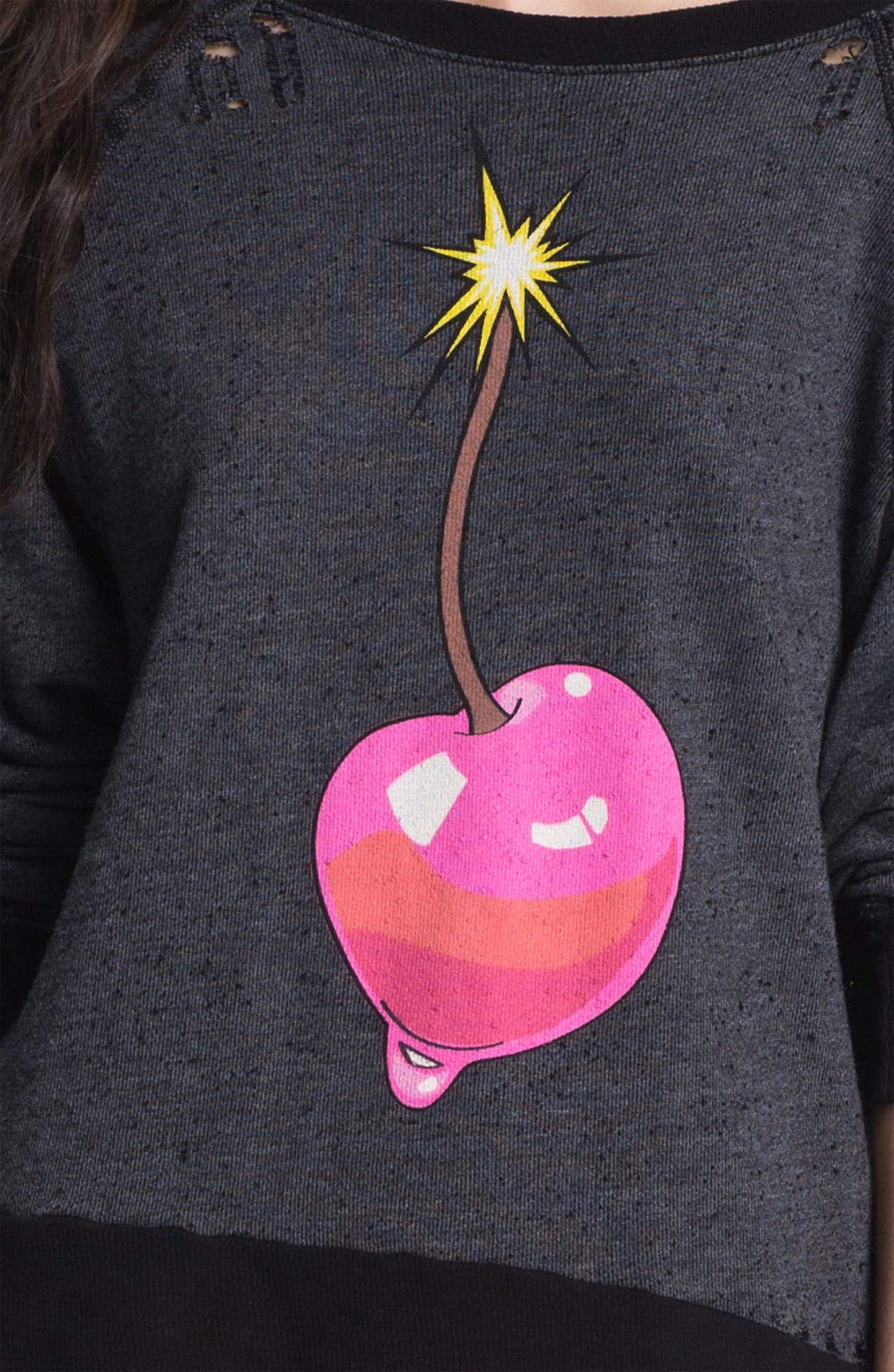 Alternate Image 3  - Wildfox 'Cherry Bomb' Destroyed Sweatshirt (Nordstrom Exclusive)