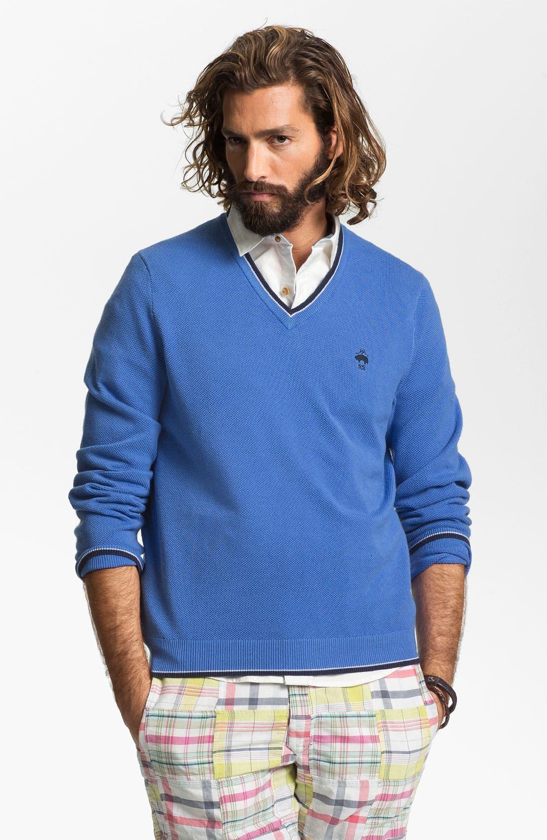 Main Image - Brooks Brothers V-Neck Supima® Cotton Sweater