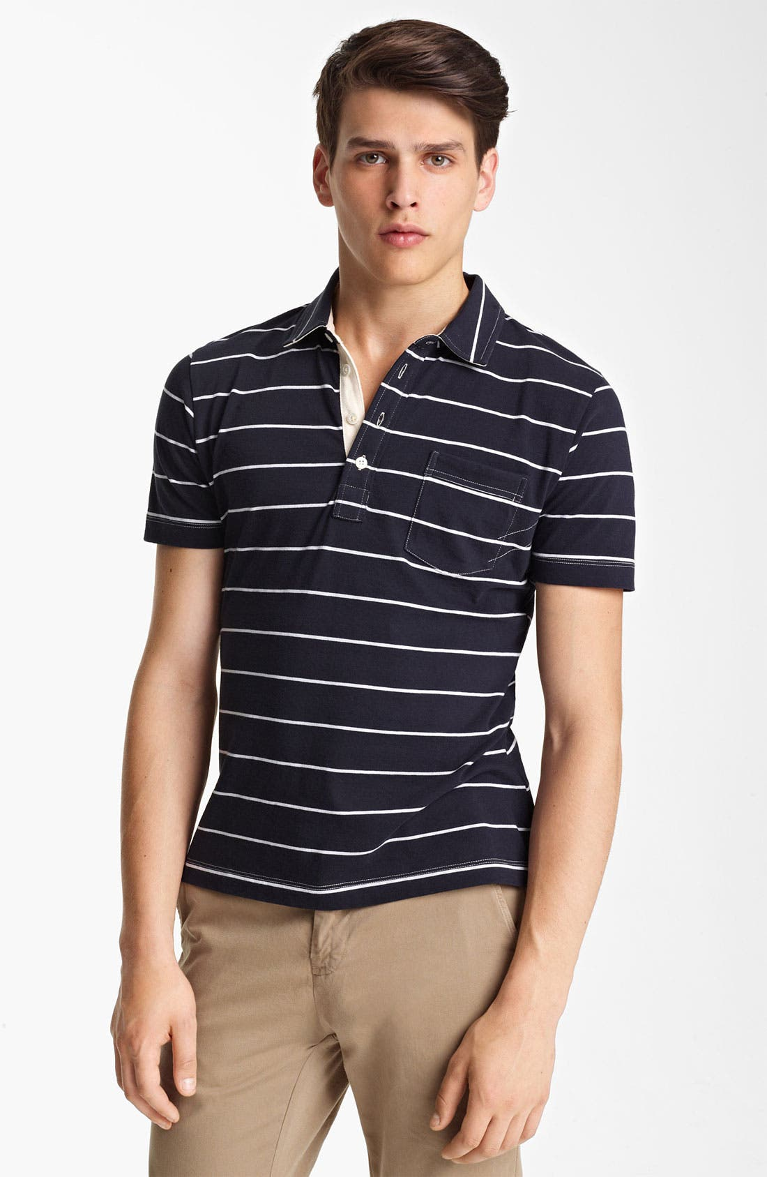 Alternate Image 1 Selected - Billy Reid 'Pensacola' Trim Fit Stripe Polo