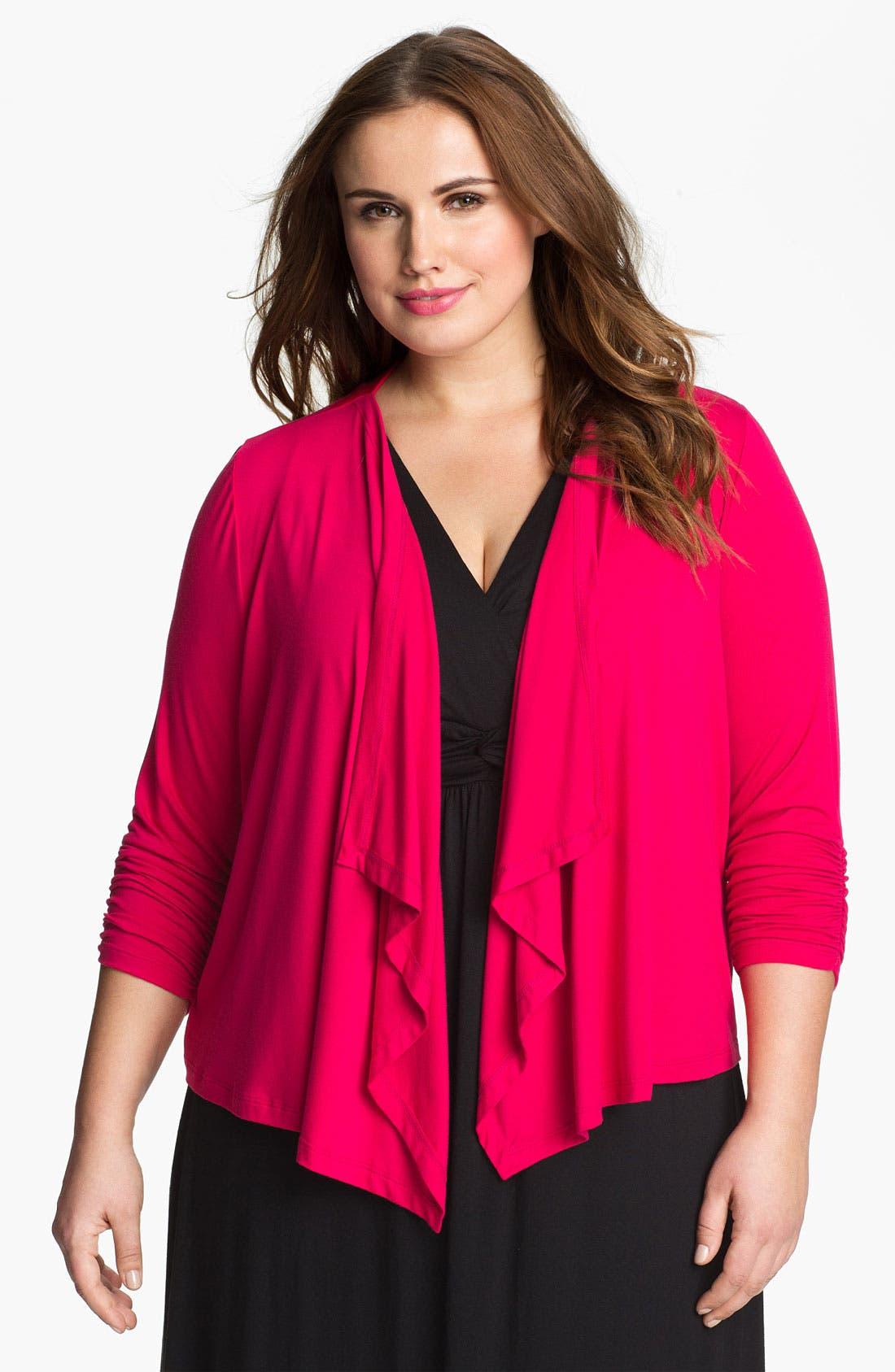 Alternate Image 1 Selected - Karen Kane Shirred Sleeve Draped Cardigan (Plus) (Online Only)