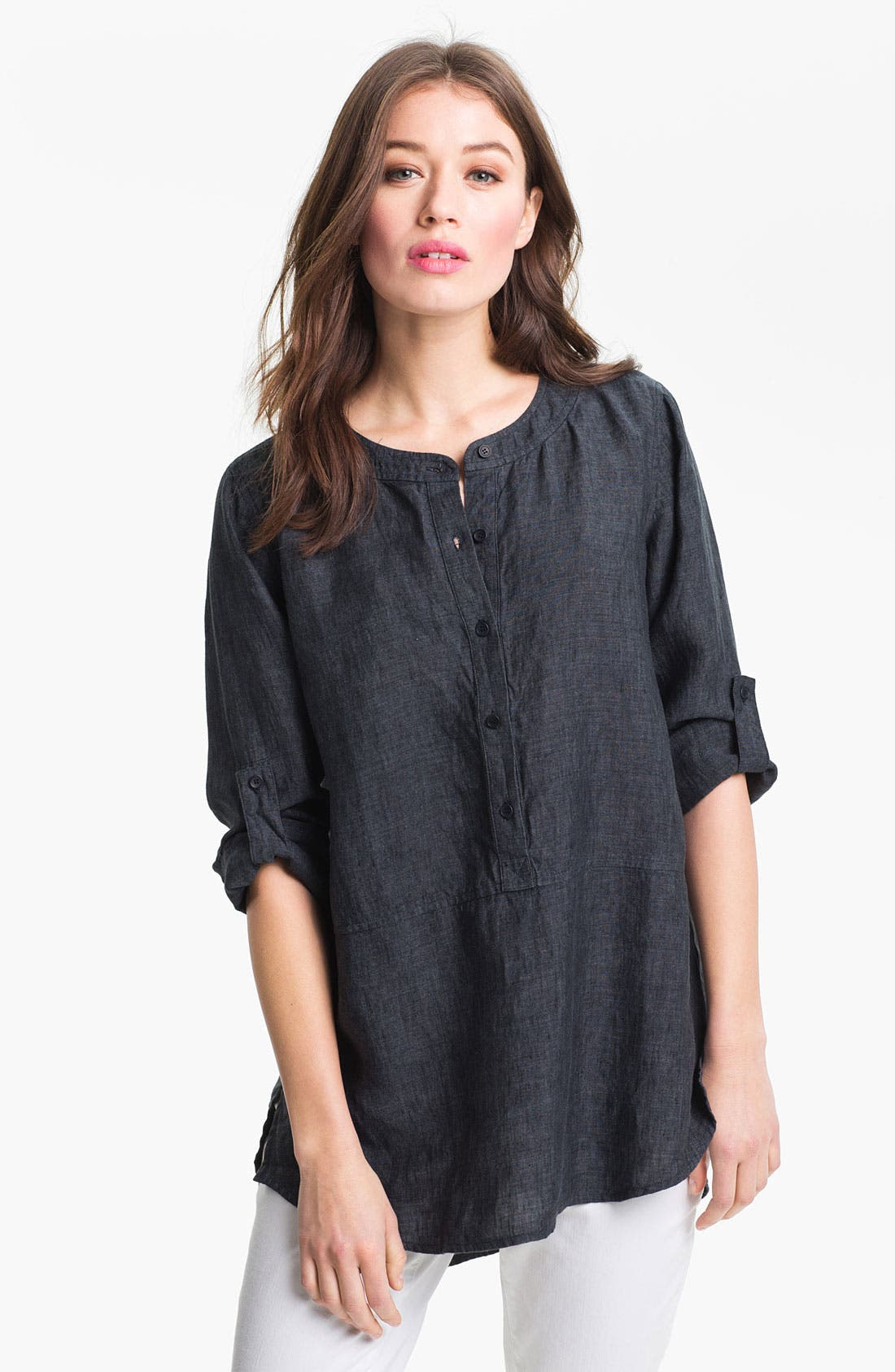 Main Image - Eileen Fisher Washed Linen Tunic (Regular & Petite)