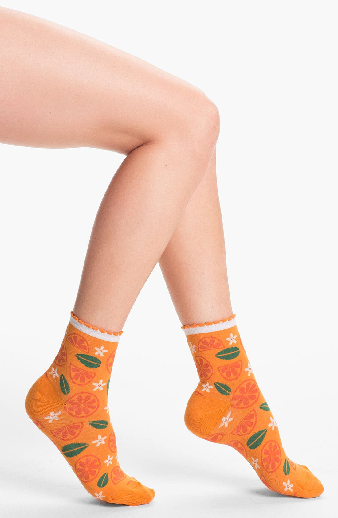Alternate Image 1 Selected - Hot Sox 'Citrus' Scallop Cuff Socks