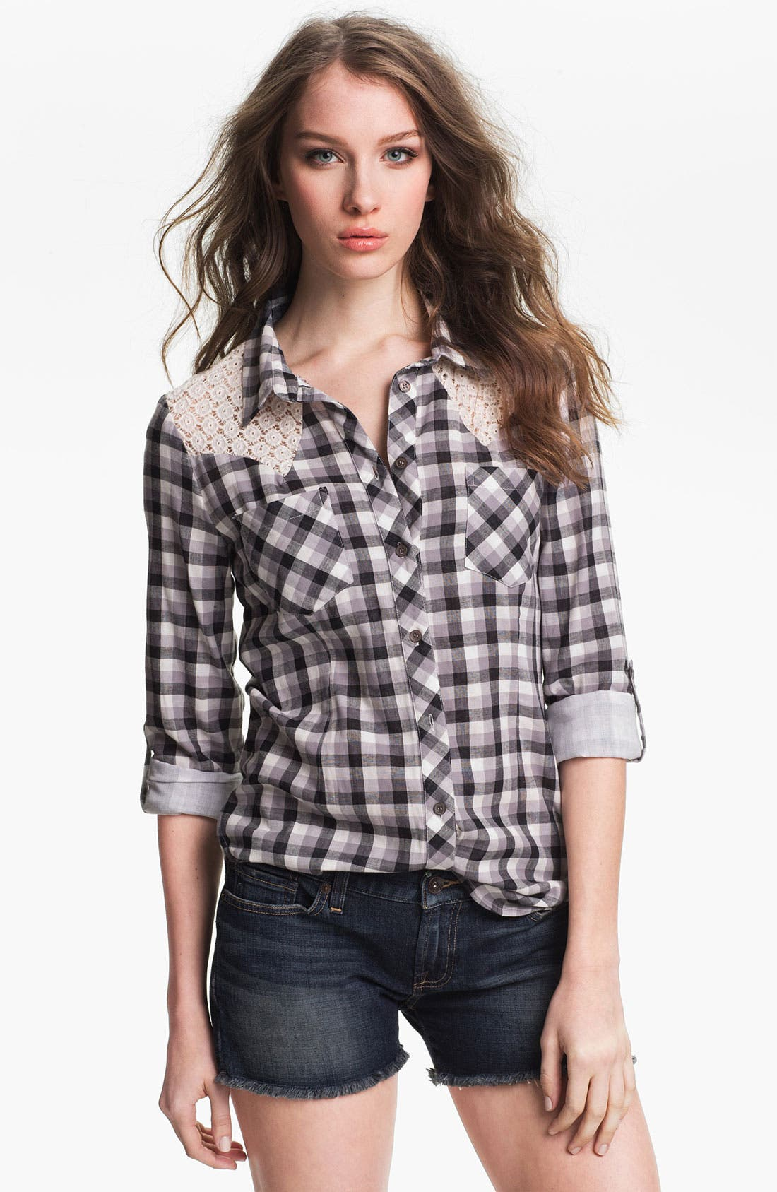 Alternate Image 1 Selected - Two by Vince Camuto Lace Trim Plaid Shirt