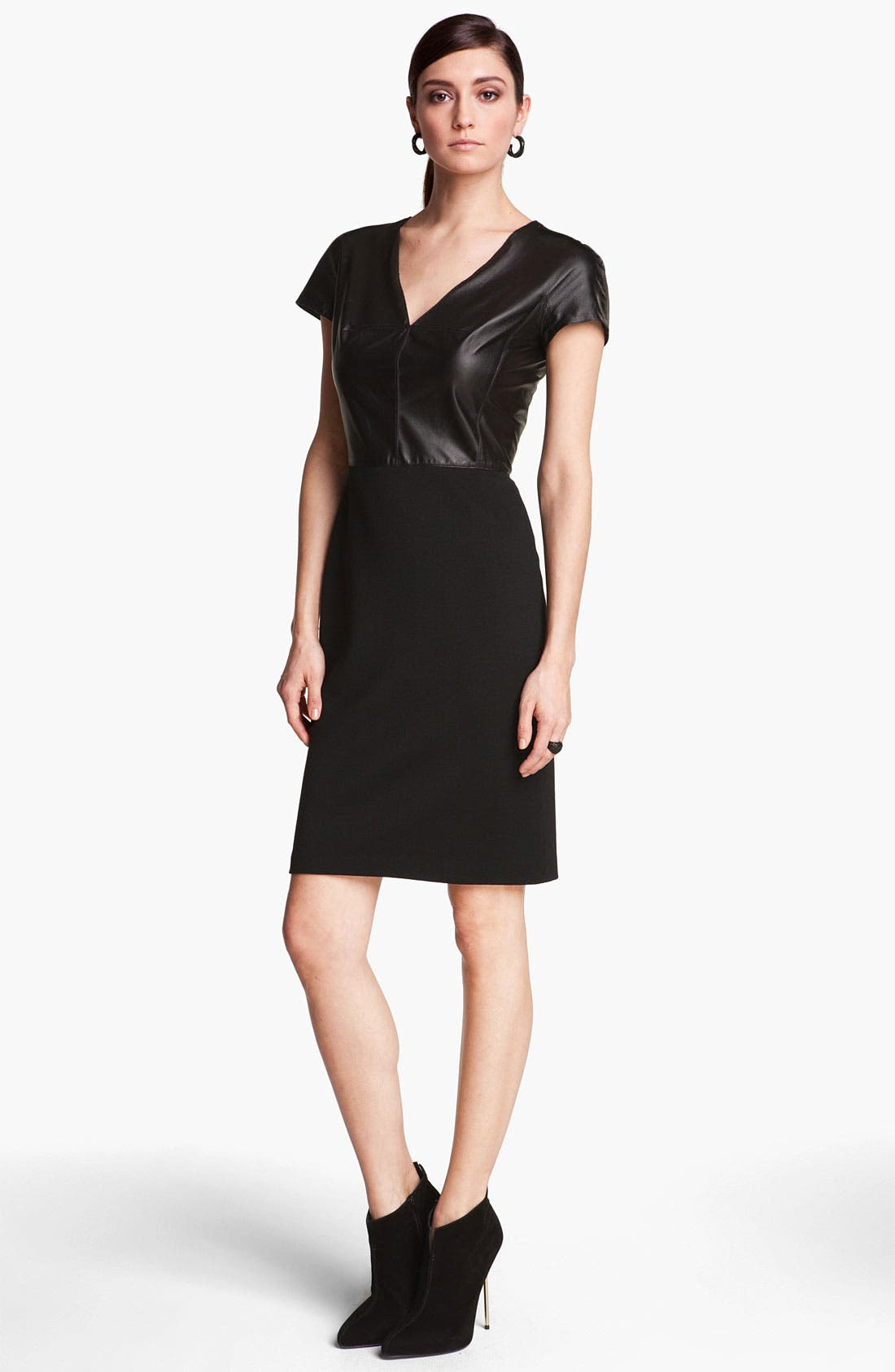 Alternate Image 1 Selected - St. John Collection Nappa Leather & Milano Knit Dress