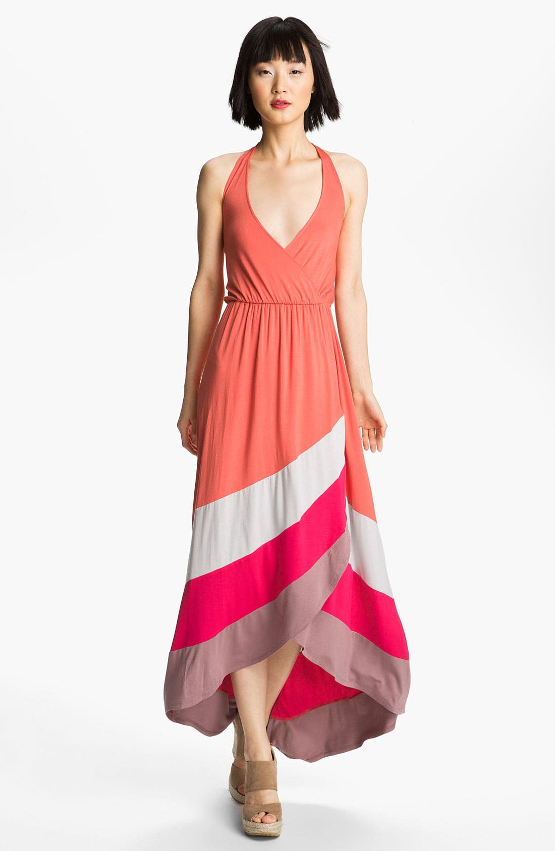 Main Image - Felicity & Coco Colorblock High/Low Halter Maxi Dress (Nordstrom Exclusive)