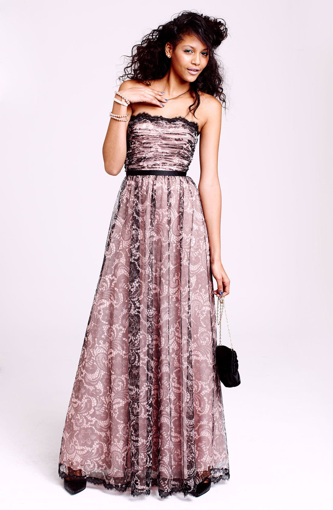 Alternate Image 4  - Adrianna Papell Lace Print Tulle Gown