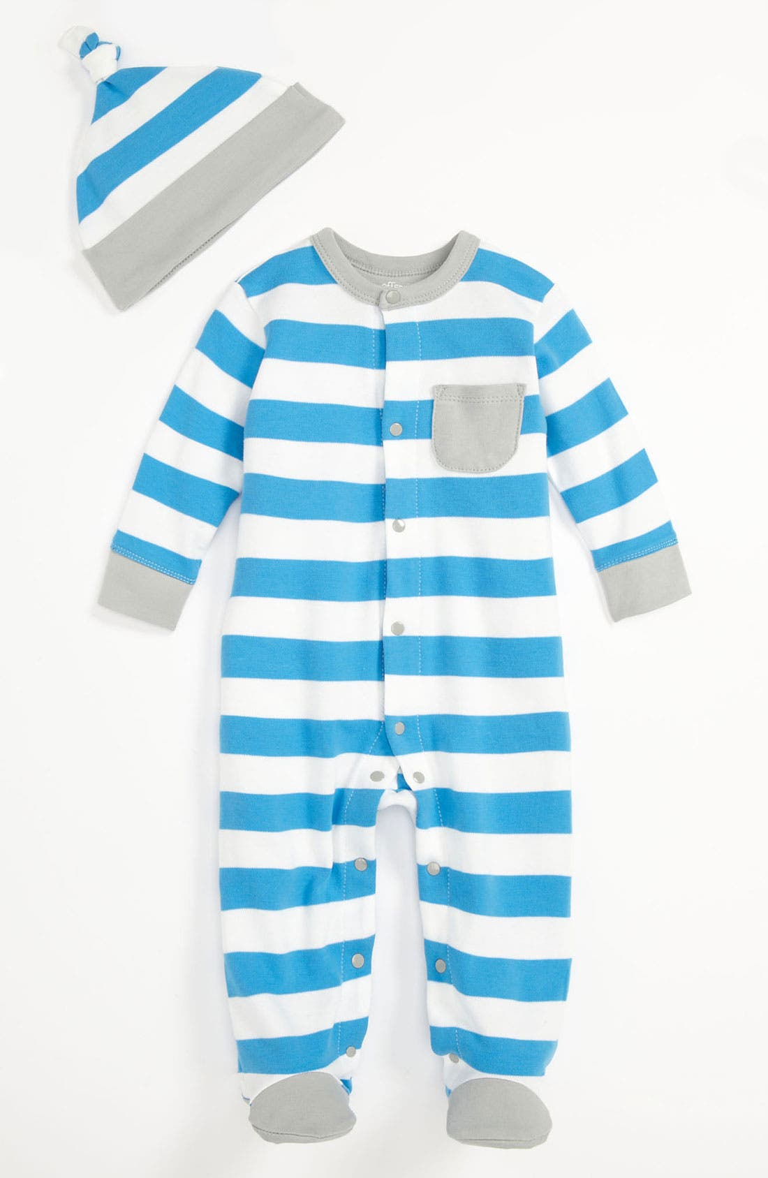 Alternate Image 1 Selected - Offspring 'Bonnie Blue' Footie & Hat (Baby)