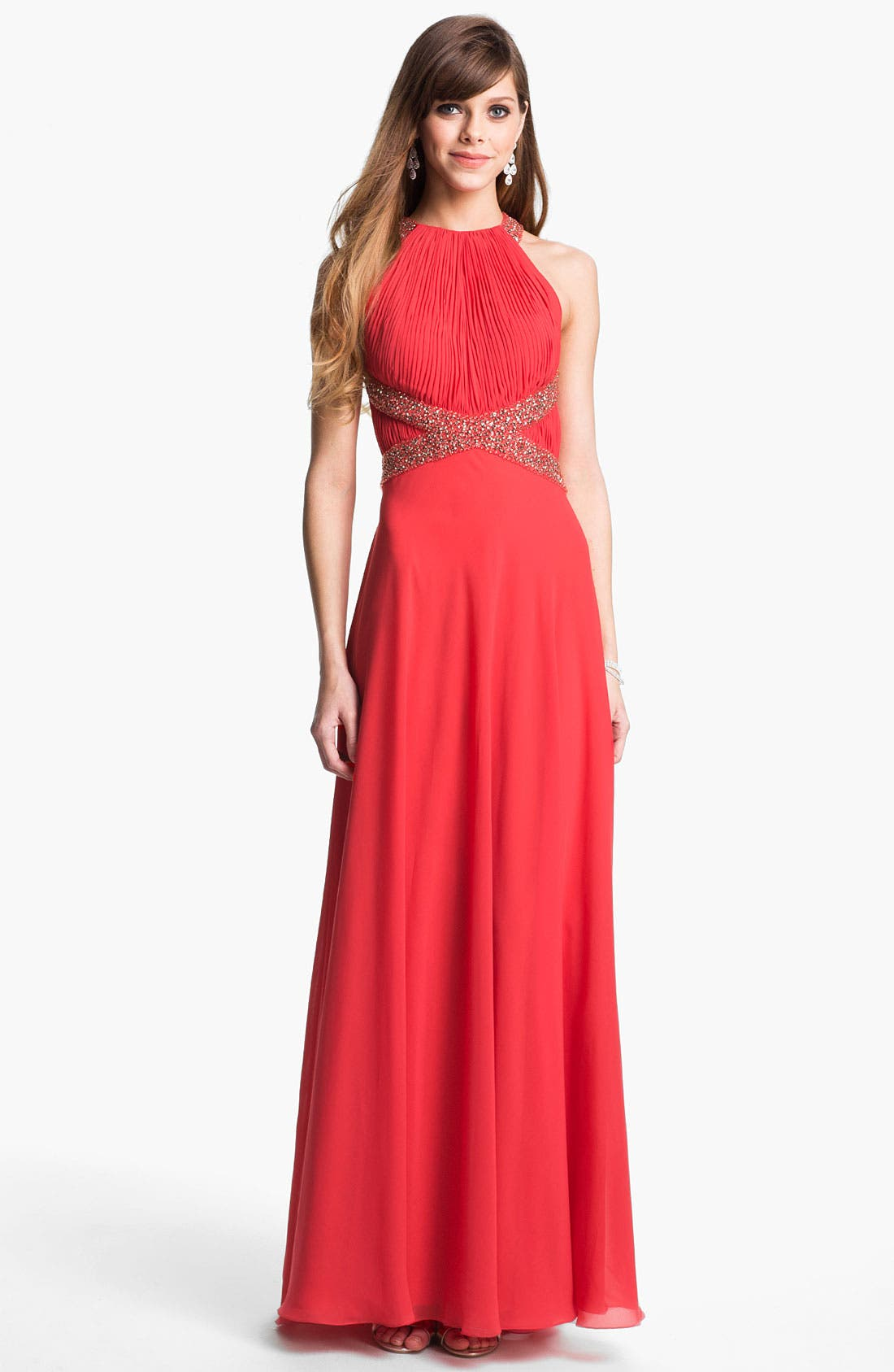 Alternate Image 1 Selected - JS Collections Embellished Pleated Chiffon Gown