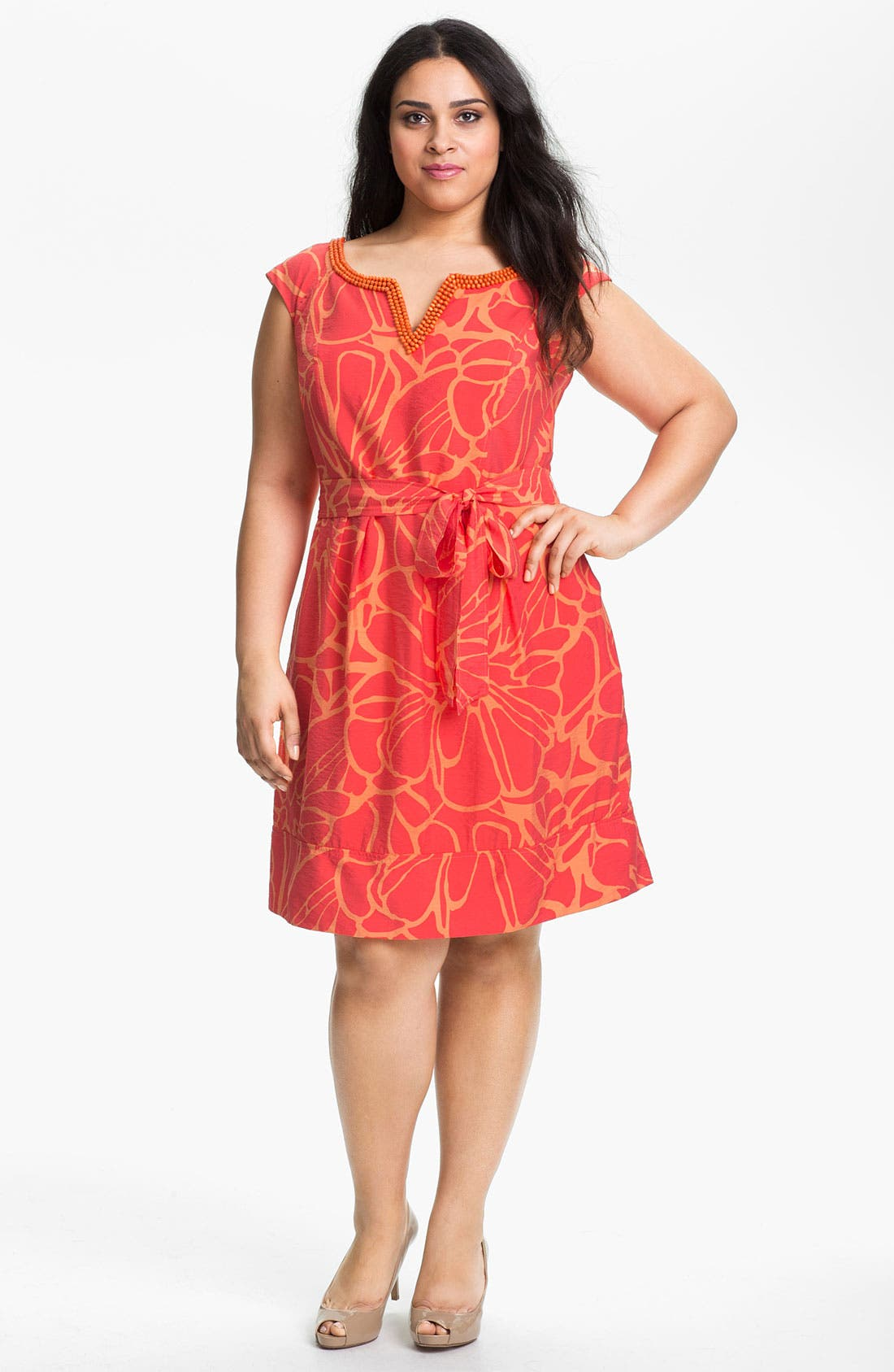Alternate Image 1 Selected - Adrianna Papell Print Fit & Flare Dress (Plus Size)
