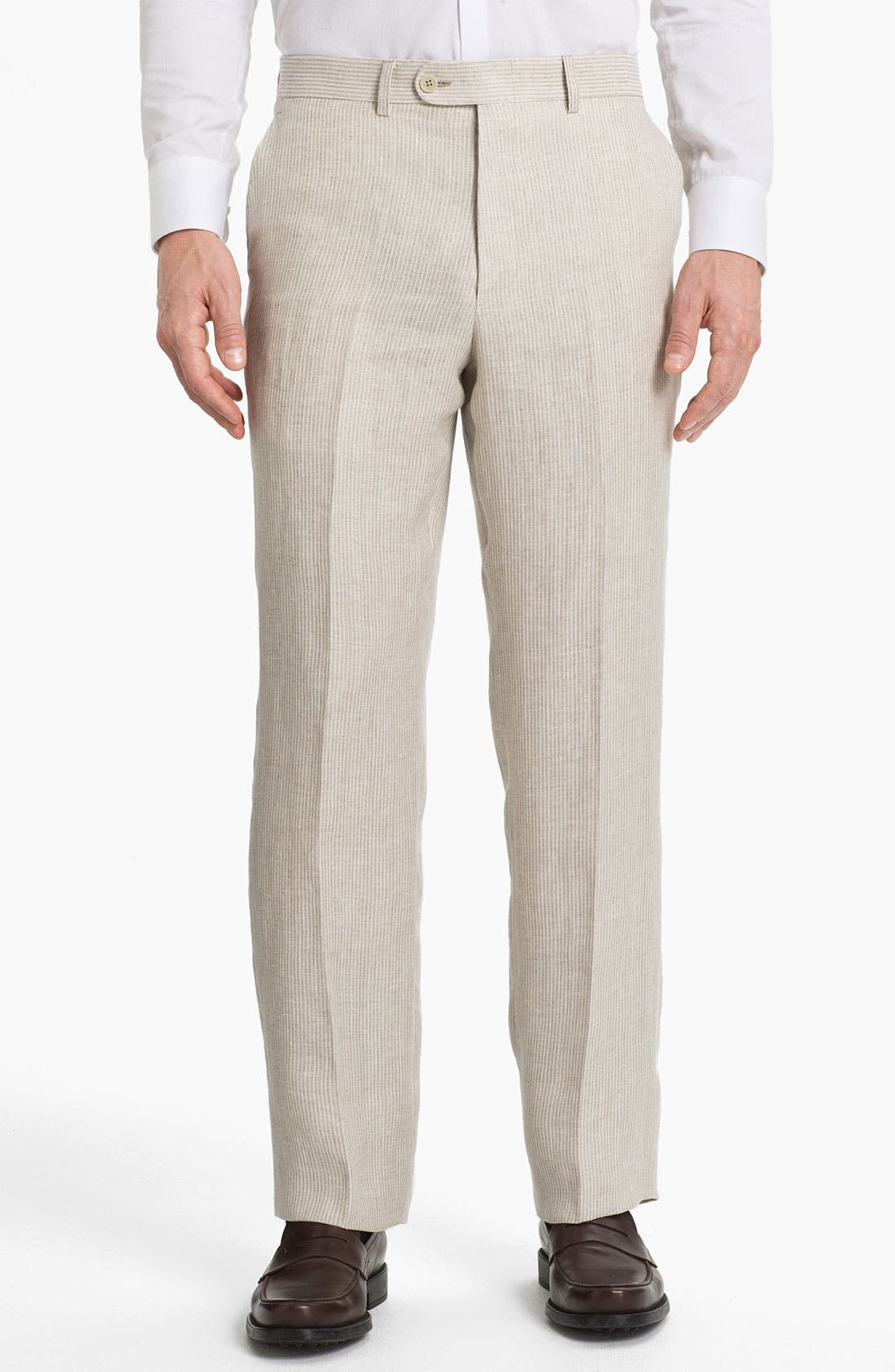 Alternate Image 1 Selected - Linea Naturale 'Rope Stripe' Flat Front Linen Trousers