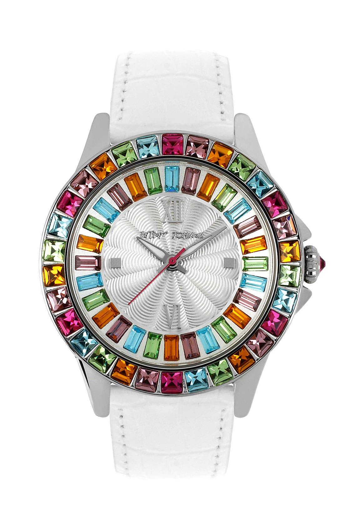 Main Image - Betsey Johnson Multicolored Crystal Bezel Watch, 40mm