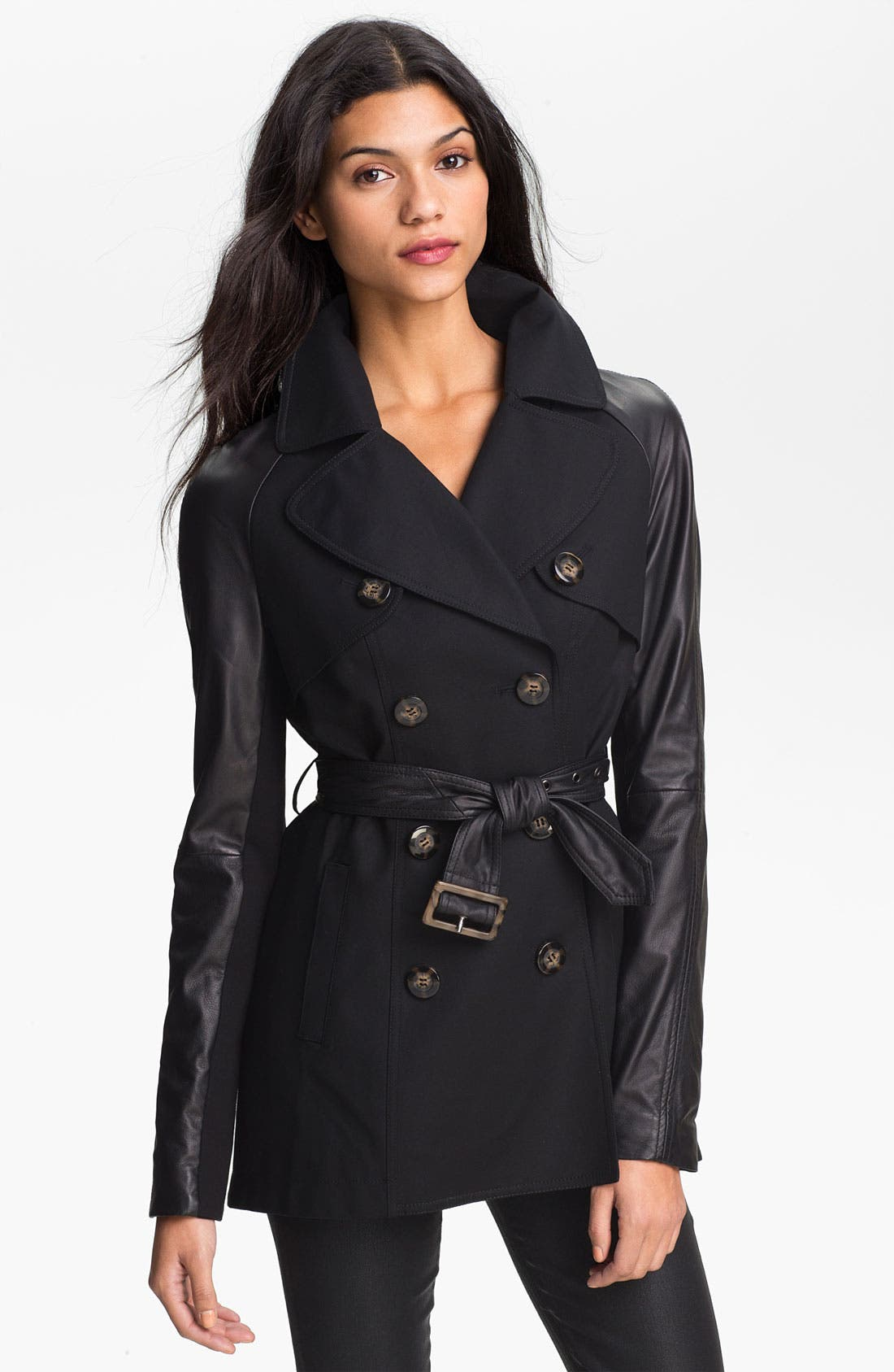 Main Image - Dawn Levy 'Morgan' Leather Sleeve Trench Jacket