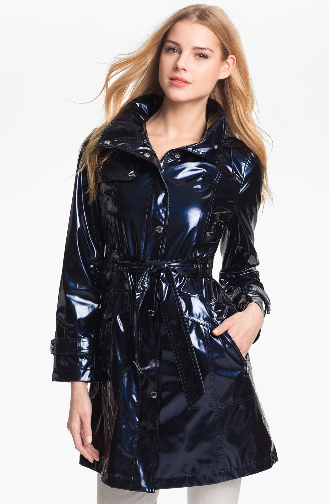Main Image - Ellen Tracy Pearlized Trench Coat (Petite) (Online Only)