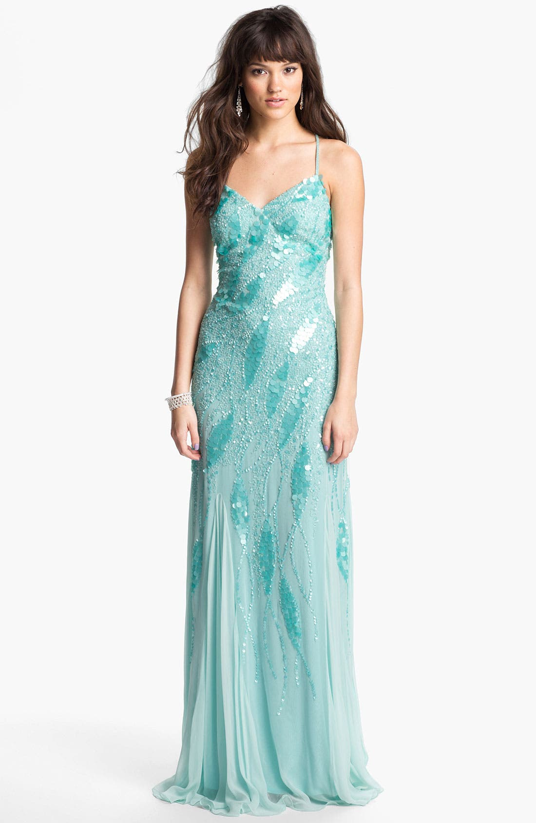 Alternate Image 1 Selected - Faviana Embellished Chiffon Gown (Online Only)
