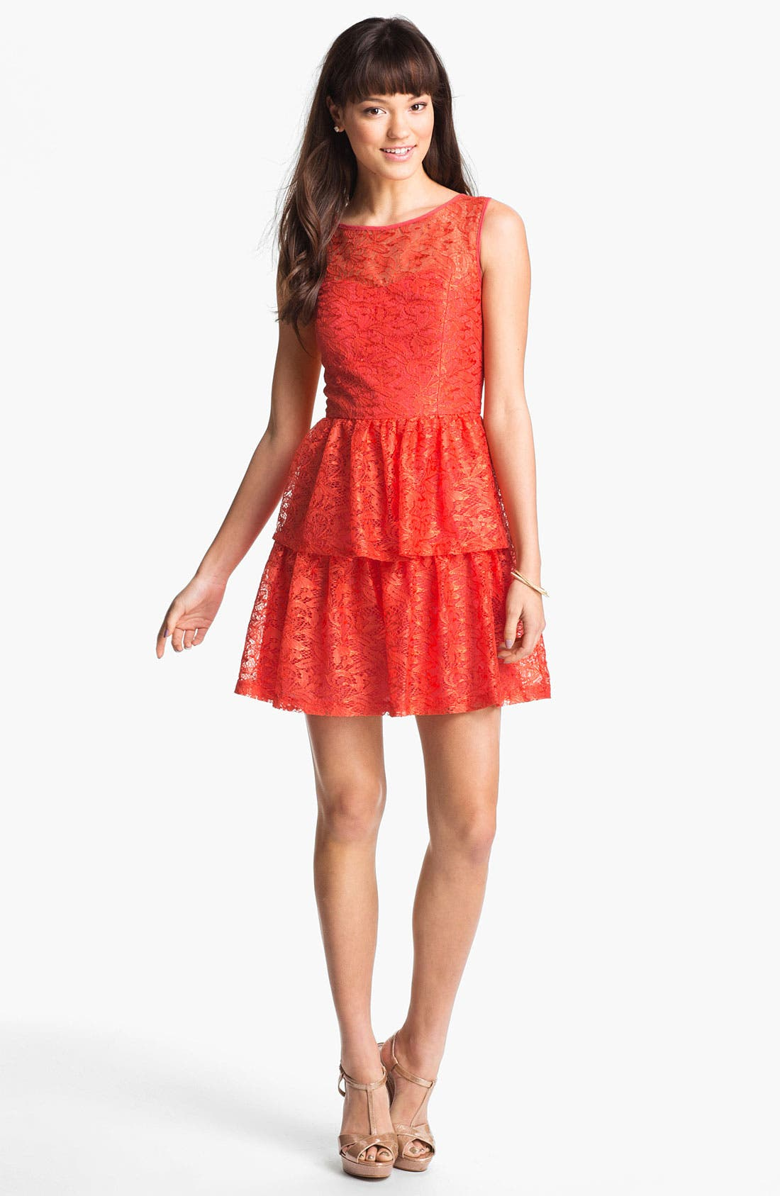 Main Image - Max & Cleo Tiered Lace Fit & Flare Dress