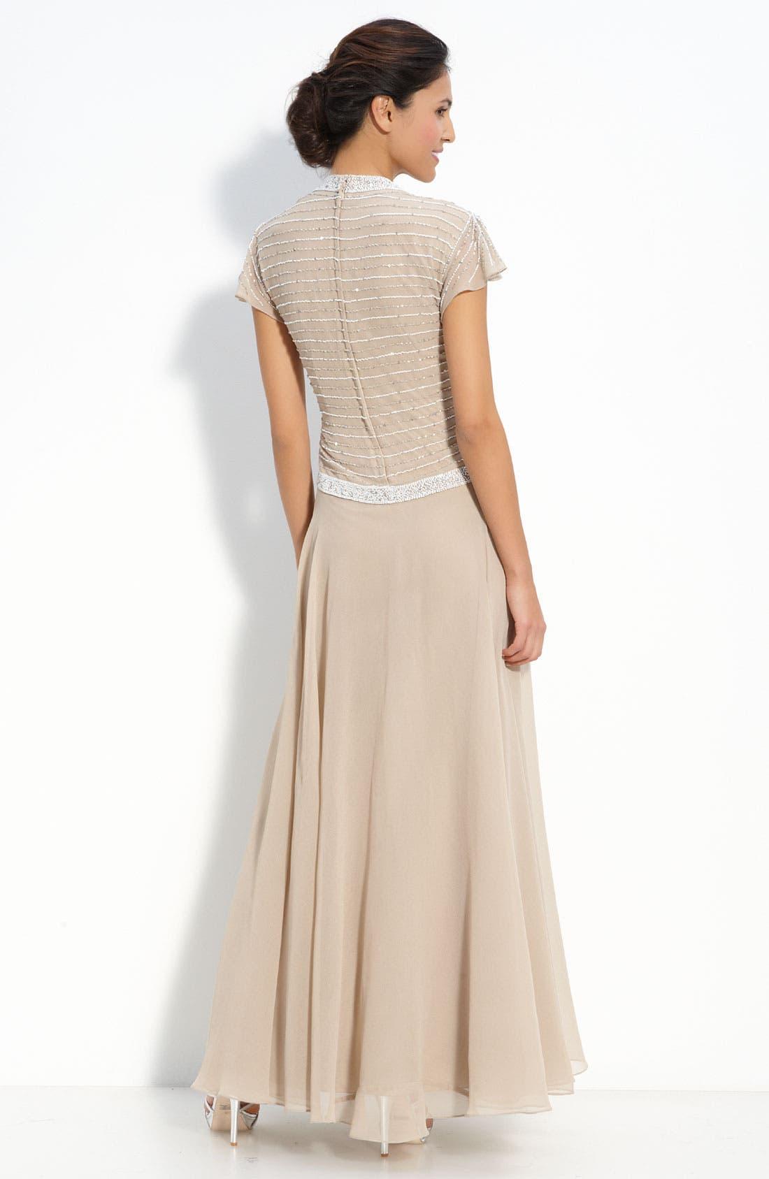 Alternate Image 2  - J Kara Beaded Mock Two-Piece Crepe Gown (Petite)