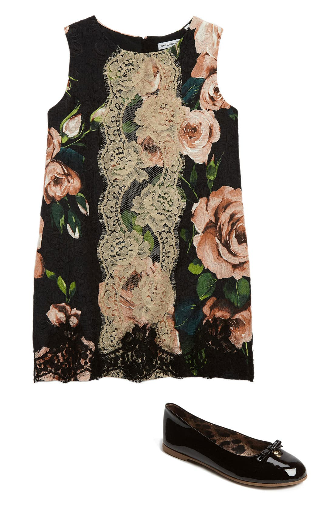 Main Image - Dolce&Gabbana Dress & Ballet Flat (Little Girls & Big Girls)