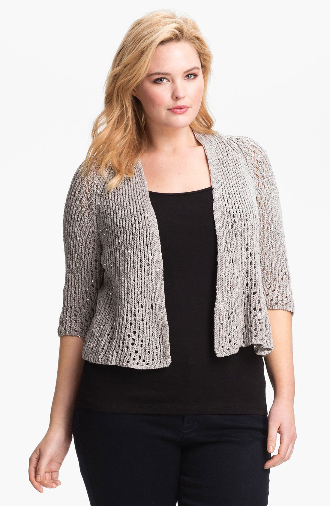 Alternate Image 1 Selected - Eileen Fisher Sequin Crop Cardigan (Plus Size)