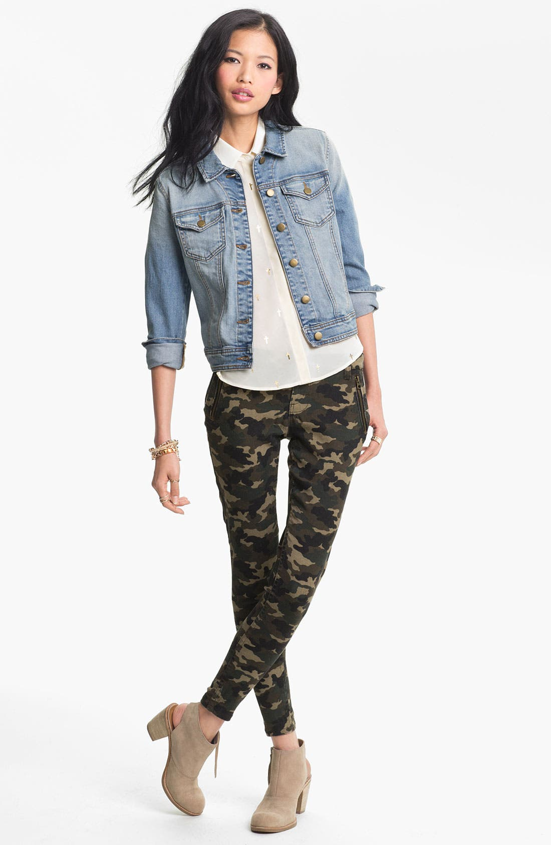 Alternate Image 2  - See Thru Soul Camo Print Skinny Pants (Juniors)