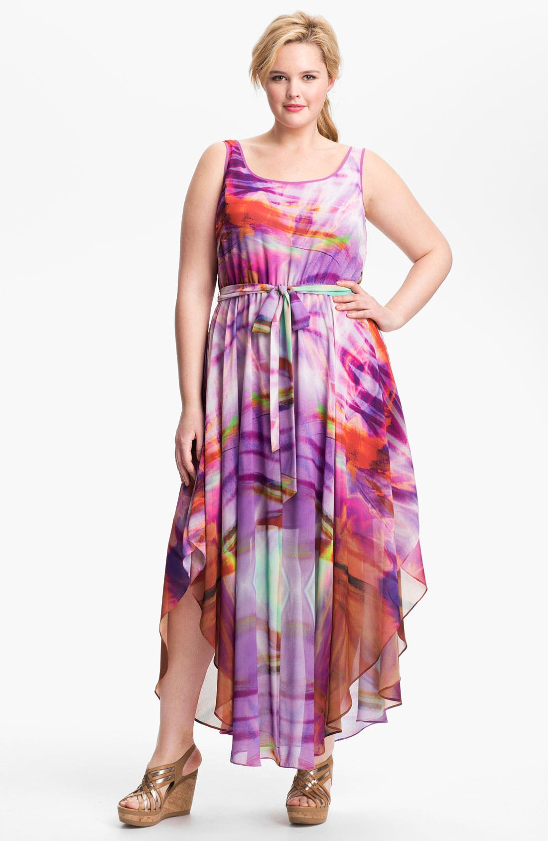 Alternate Image 1 Selected - Ivy & Blu for Maggy Boutique Print Maxi Dress (Plus Size)