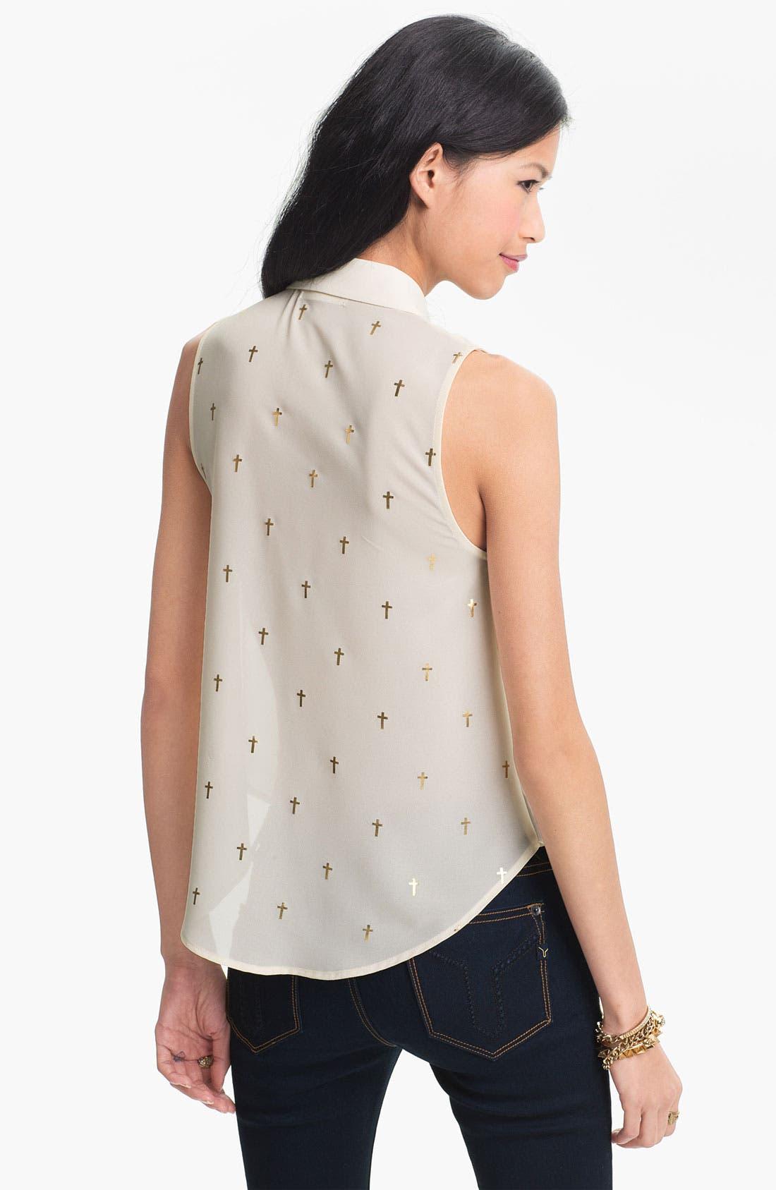Alternate Image 3  - Elodie Gold Cross Print Chiffon Shirt (Juniors)