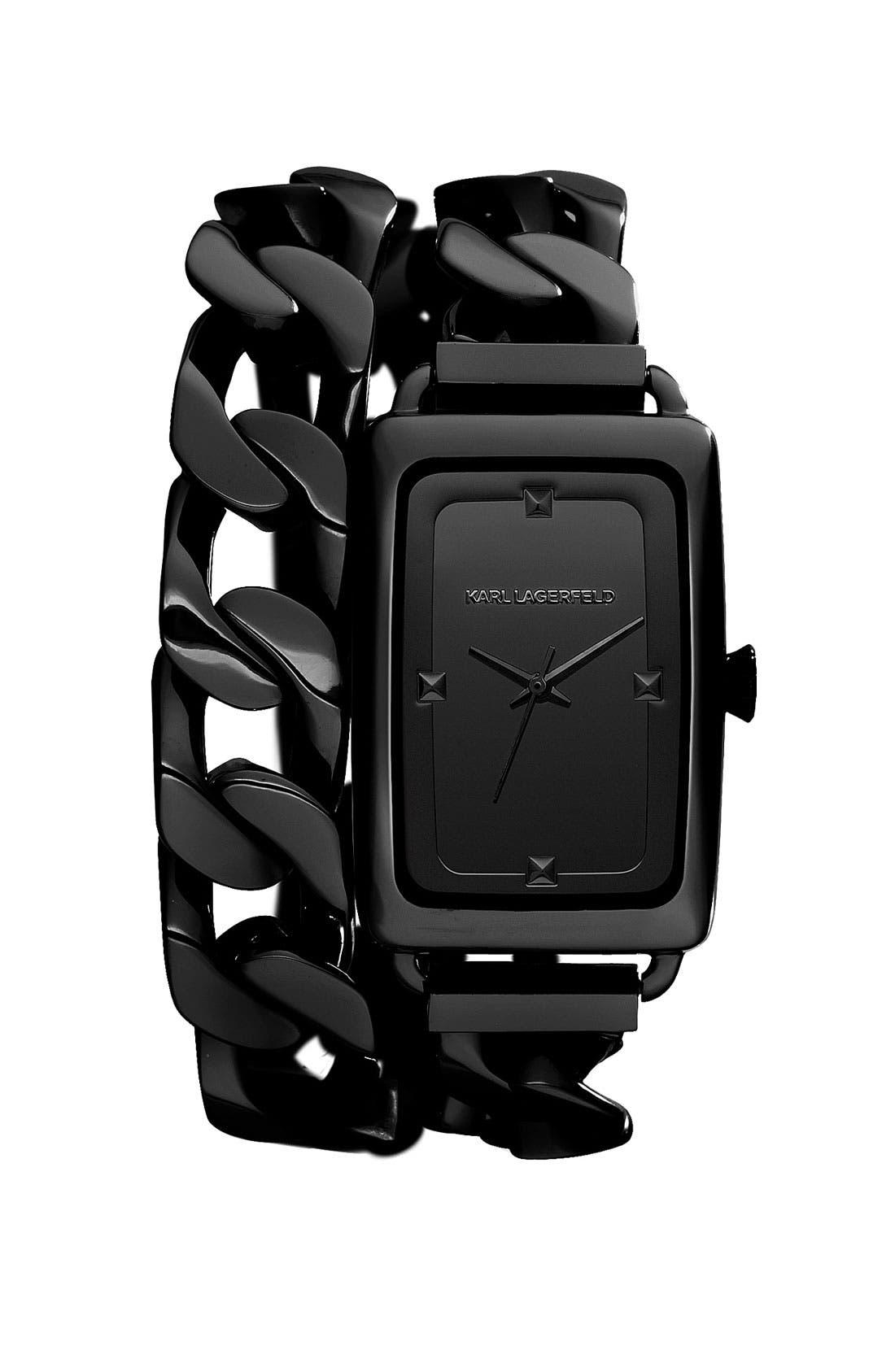 Main Image - KARL LAGERFELD 'Kourbe' Double Wrap Bracelet Watch, 28mm x 41mm