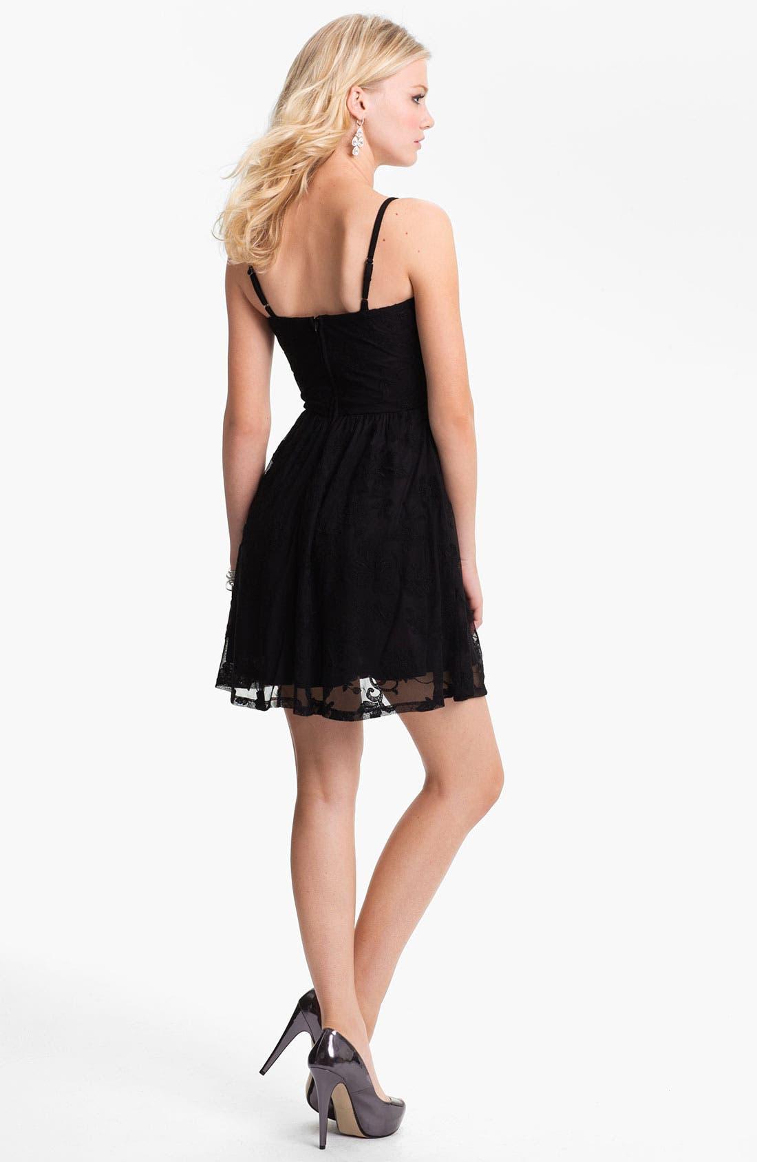 Alternate Image 2  - Fire Lace Skater Dress (Juniors) (Online Only)