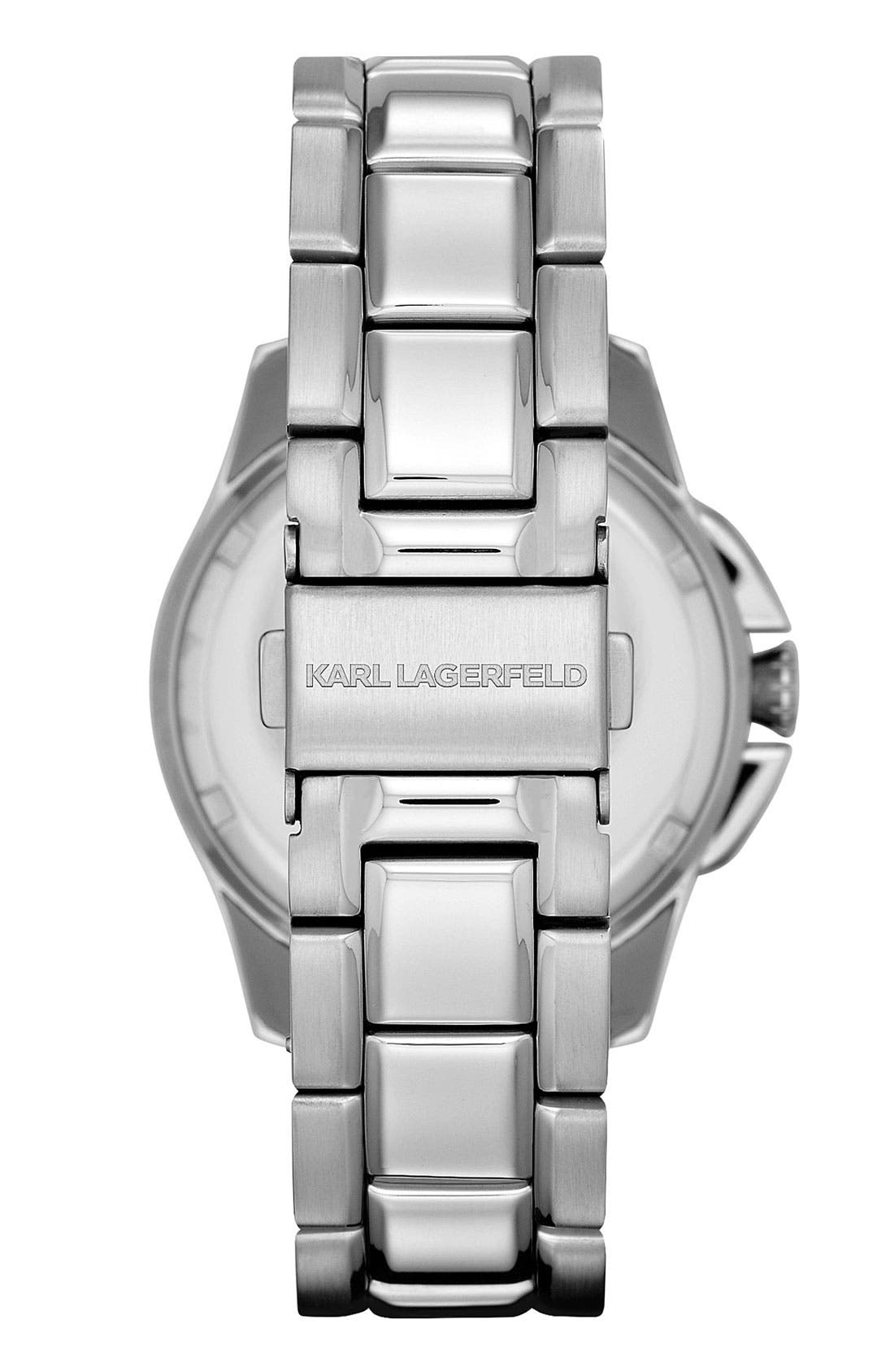 Alternate Image 2  - KARL LAGERFELD '7' Faceted Bezel Bracelet Watch, 36mm