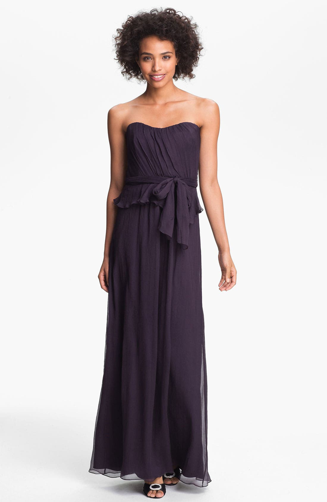 Main Image - Amsale Crinkled Silk Chiffon Peplum Gown