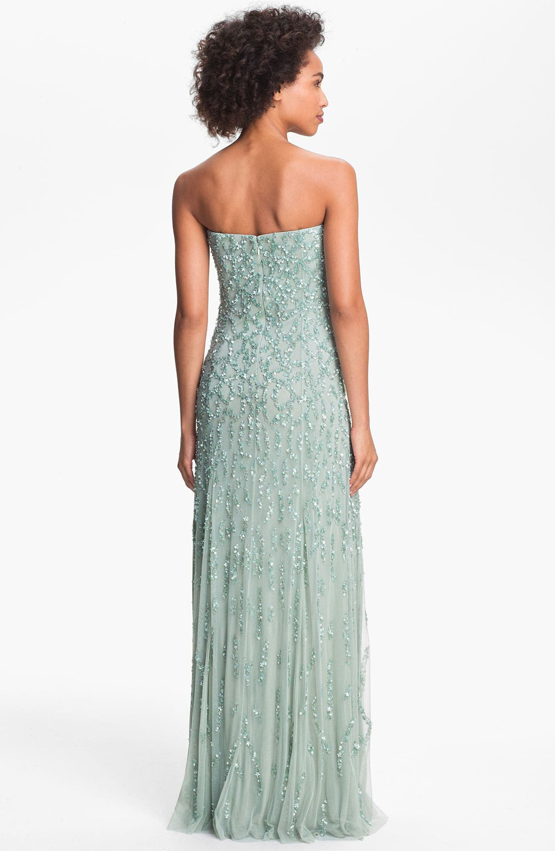 Alternate Image 2  - Adrianna Papell Strapless Beaded Mesh Gown (Online Only)