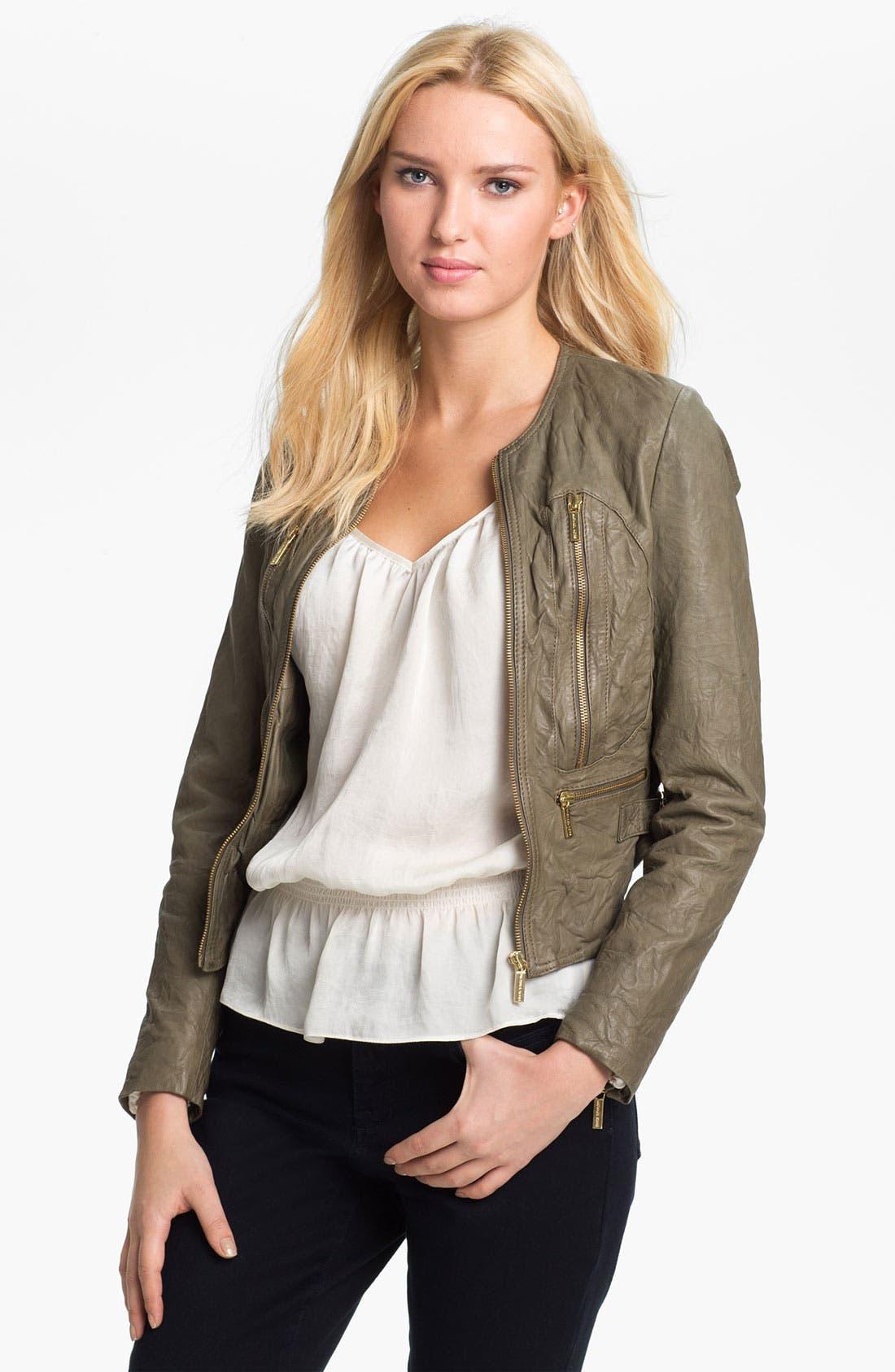 Alternate Image 1 Selected - MICHAEL Michael Kors Soft Leather Jacket (Petite)