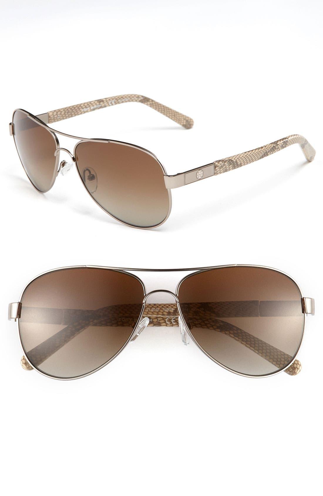 Main Image - Tory Burch 'Small' 57mm Polarized Metal Aviator Sunglasses