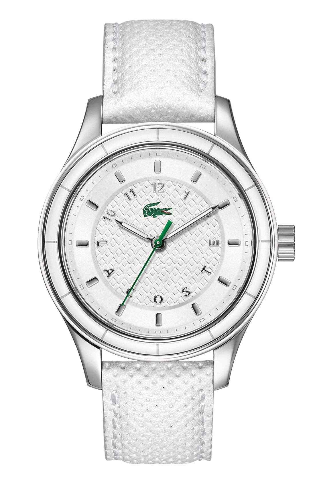 Alternate Image 1 Selected - Lacoste 'Sydney' Round Leather Strap Watch, 38mm