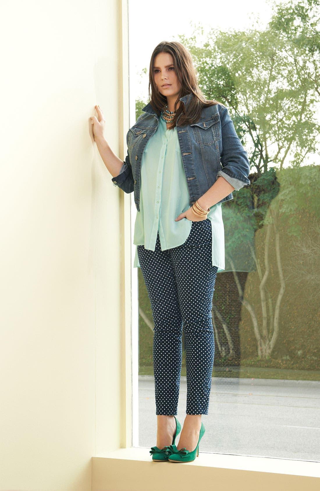Alternate Image 6  - Jag Jeans Polka Dot Slim Ankle Jeans (Plus Size)