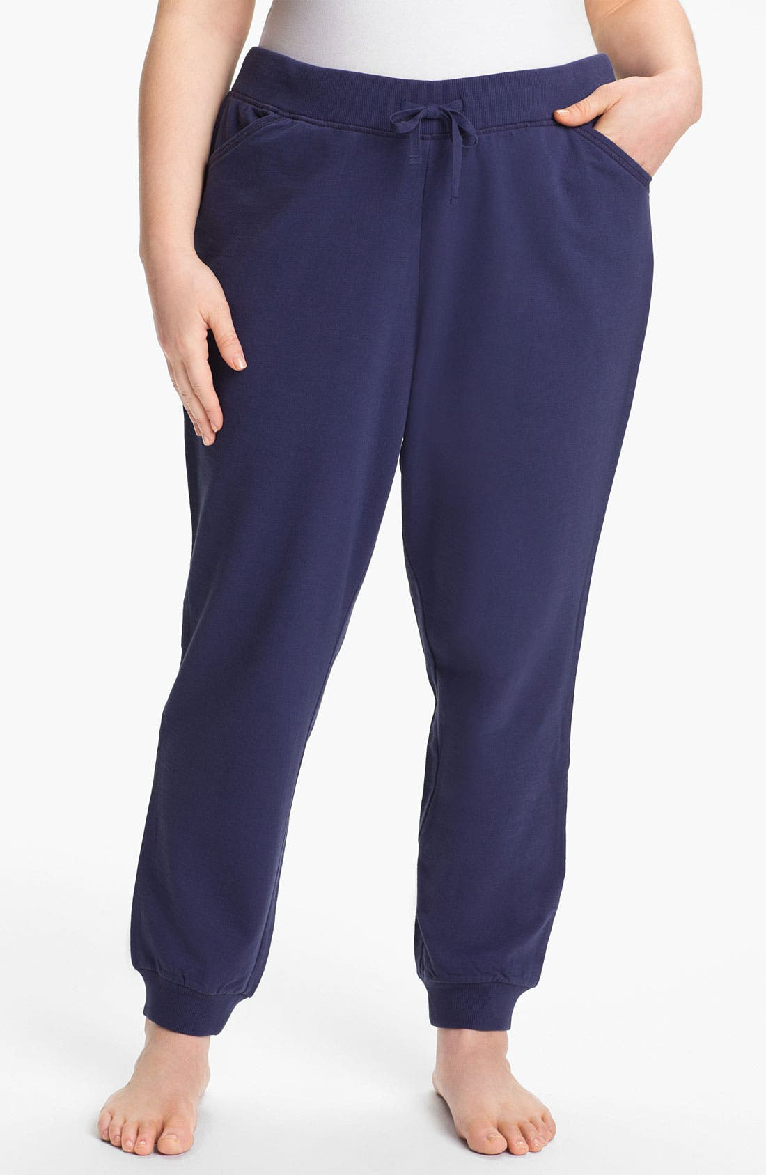 Main Image - Sejour Cuff Terry Pants (Plus Size)