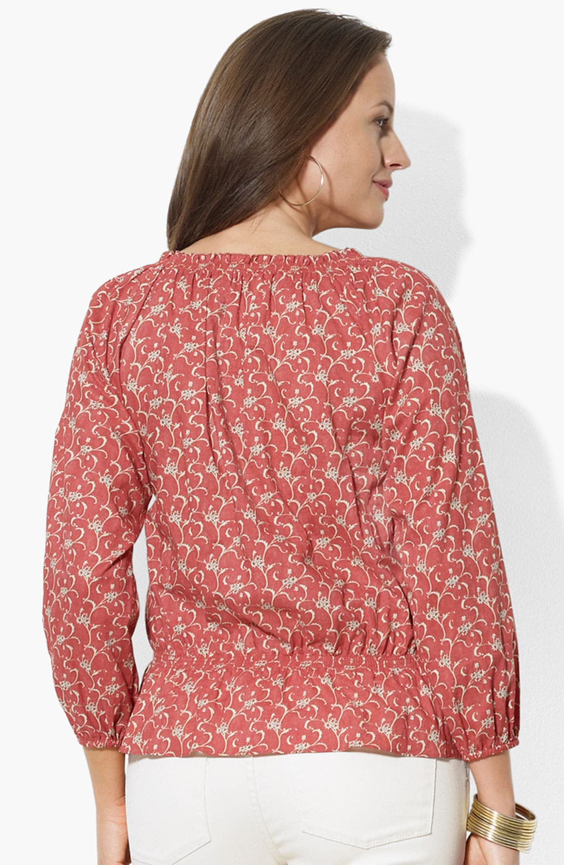 Alternate Image 2  - Lauren Ralph Lauren Print Lace Up Peasant Top (Plus Size)