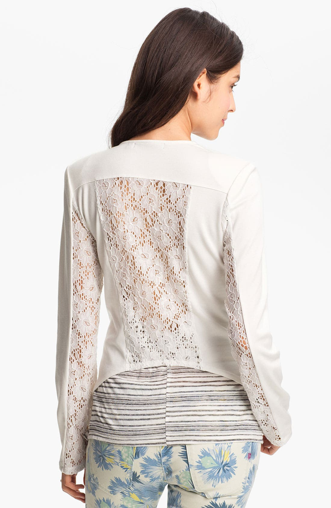 Alternate Image 1 Selected - h.i.p. Lace Back Blazer (Juniors)