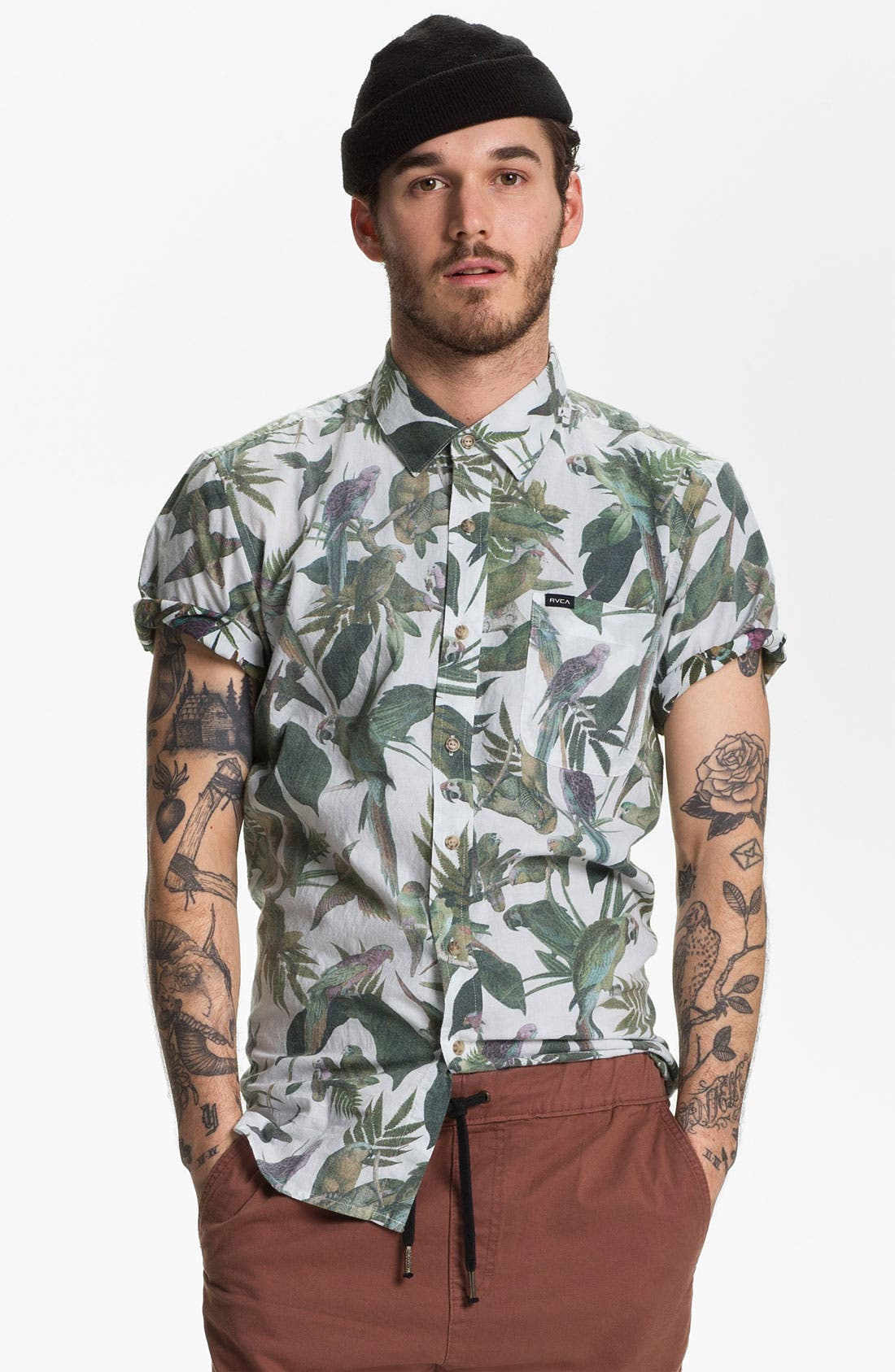 Alternate Image 1 Selected - RVCA 'Squawker' Print Woven Shirt
