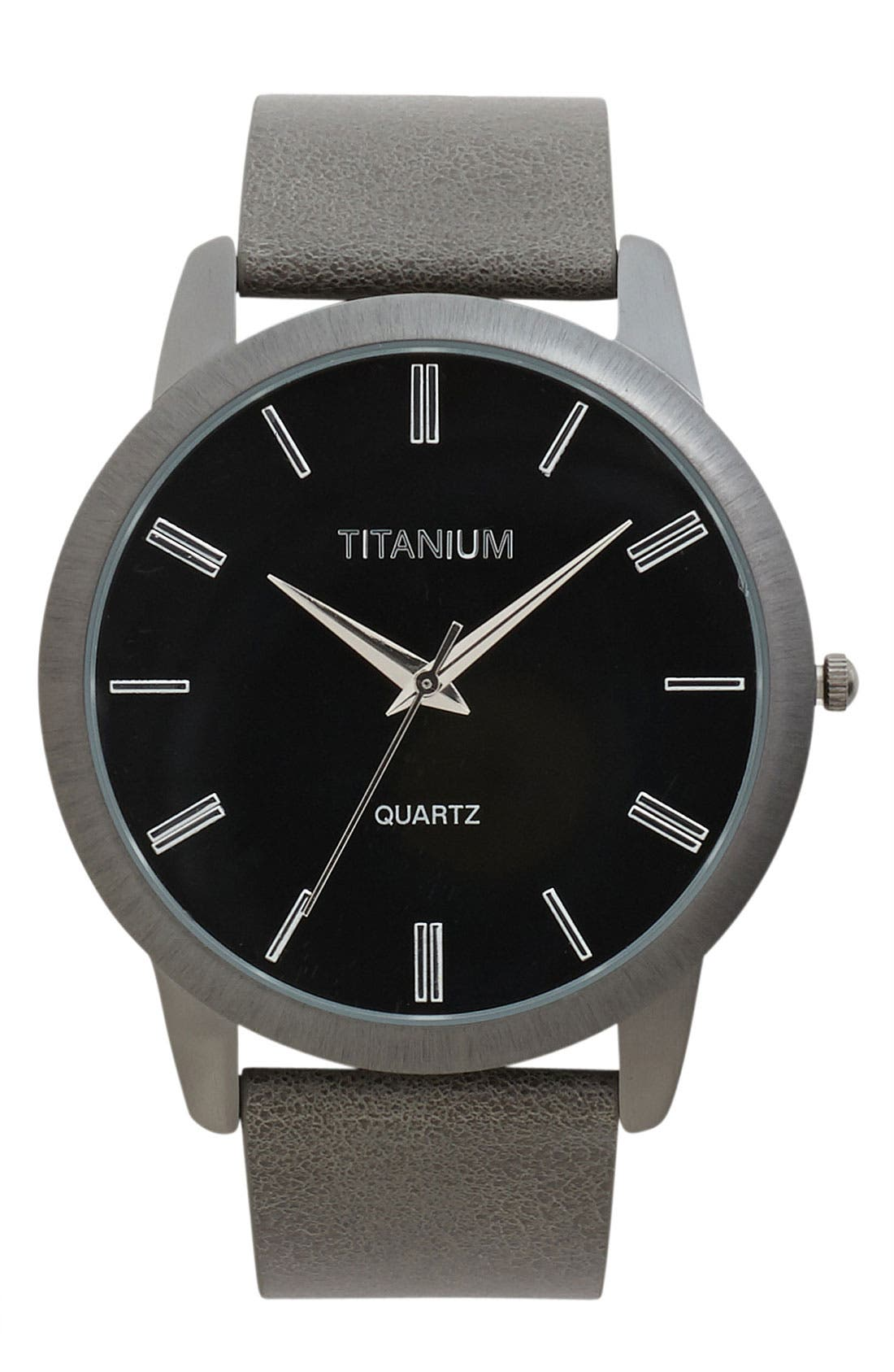 Alternate Image 1 Selected - Titanium Leather Strap Watch