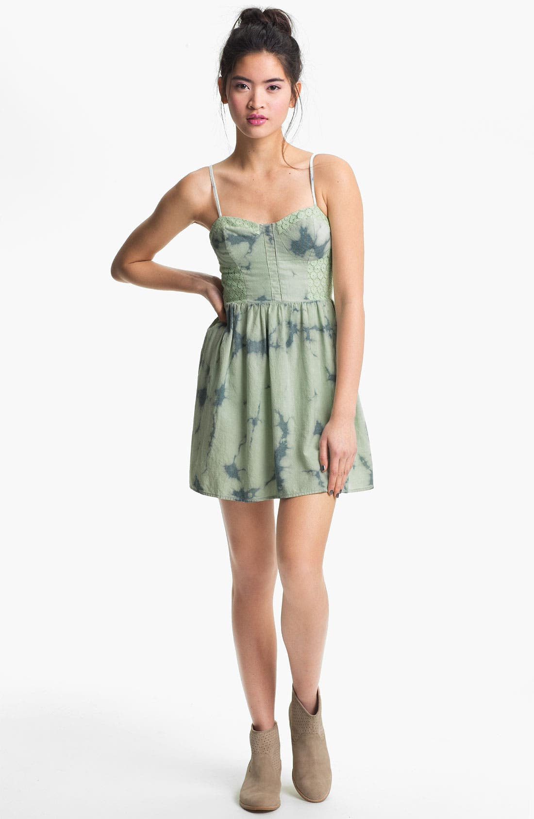 Alternate Image 1 Selected - Fire Tie Dye Chambray Bustier Dress (Juniors)