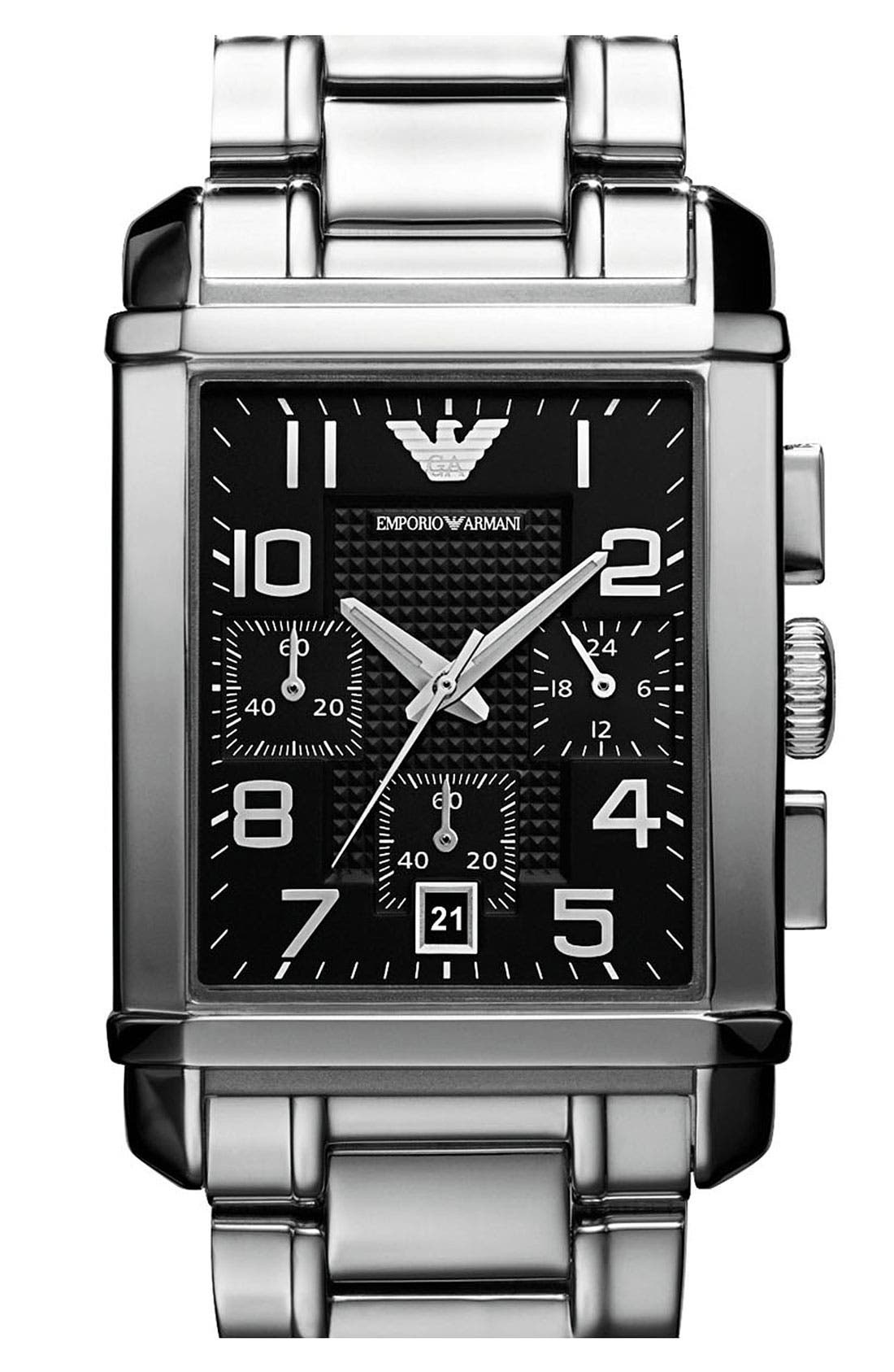 Main Image - Emporio Armani Rectangular Bracelet Watch, 33mm x 40mm