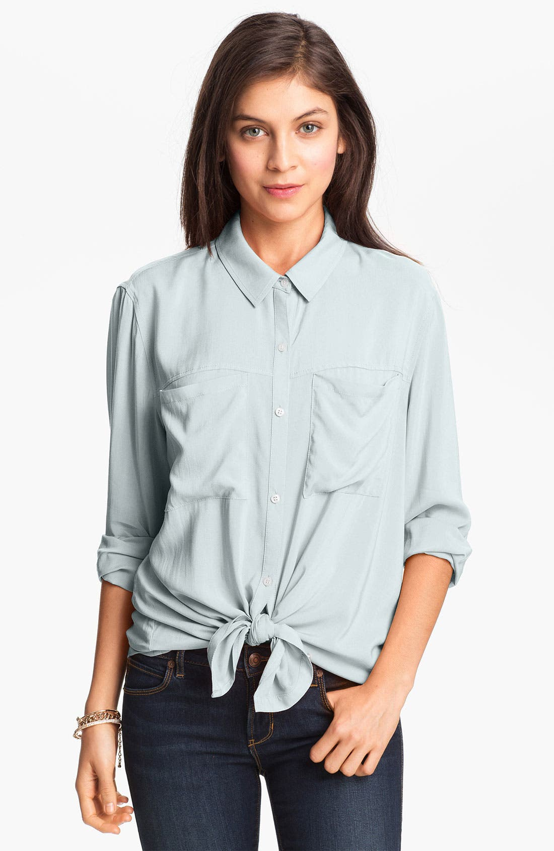 Alternate Image 1 Selected - Rubbish® Boyfriend Shirt (Juniors)