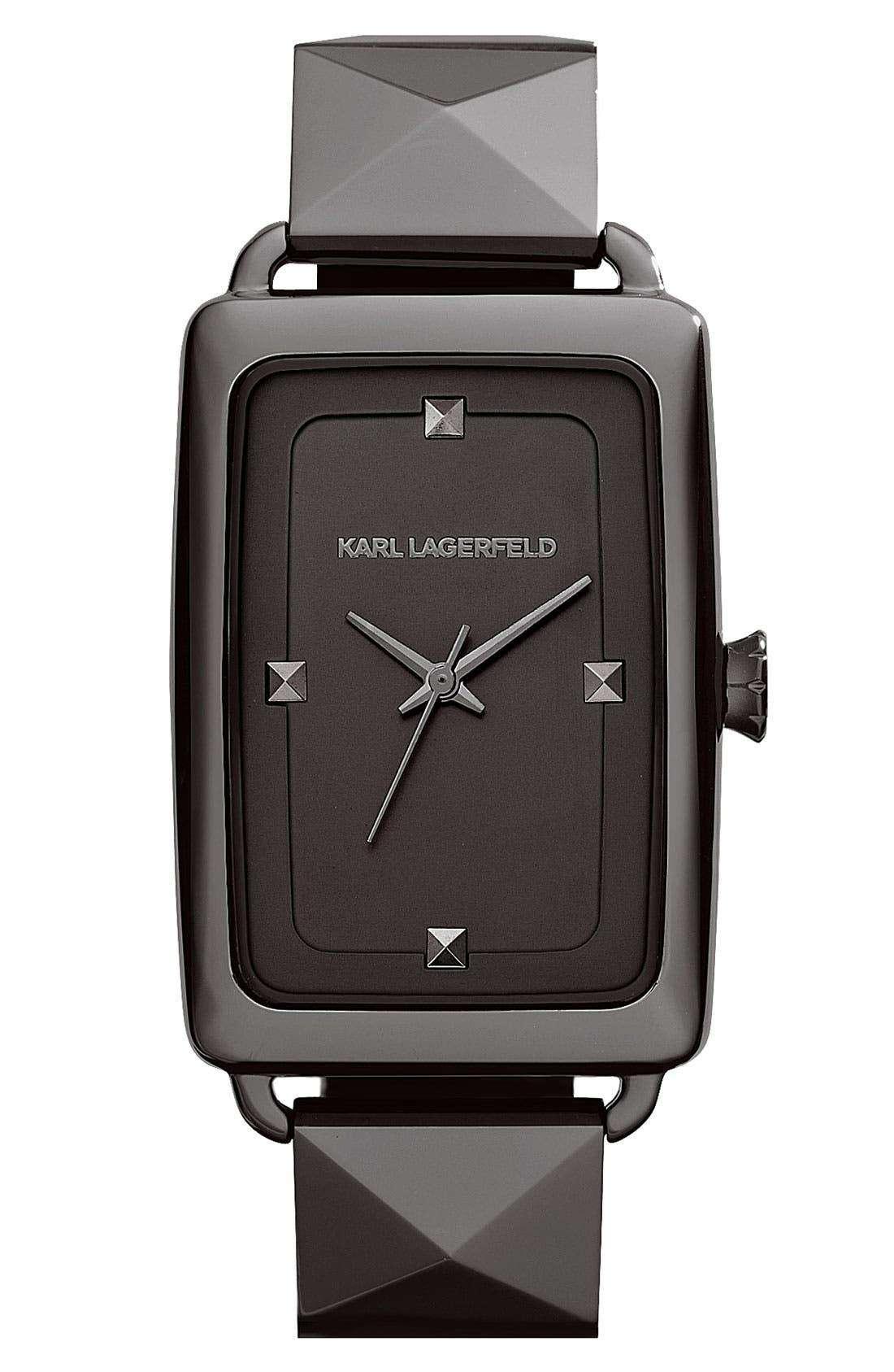 Main Image - KARL LAGERFELD 'Kourbe' Rectangular Bracelet Watch, 28mm x 41mm