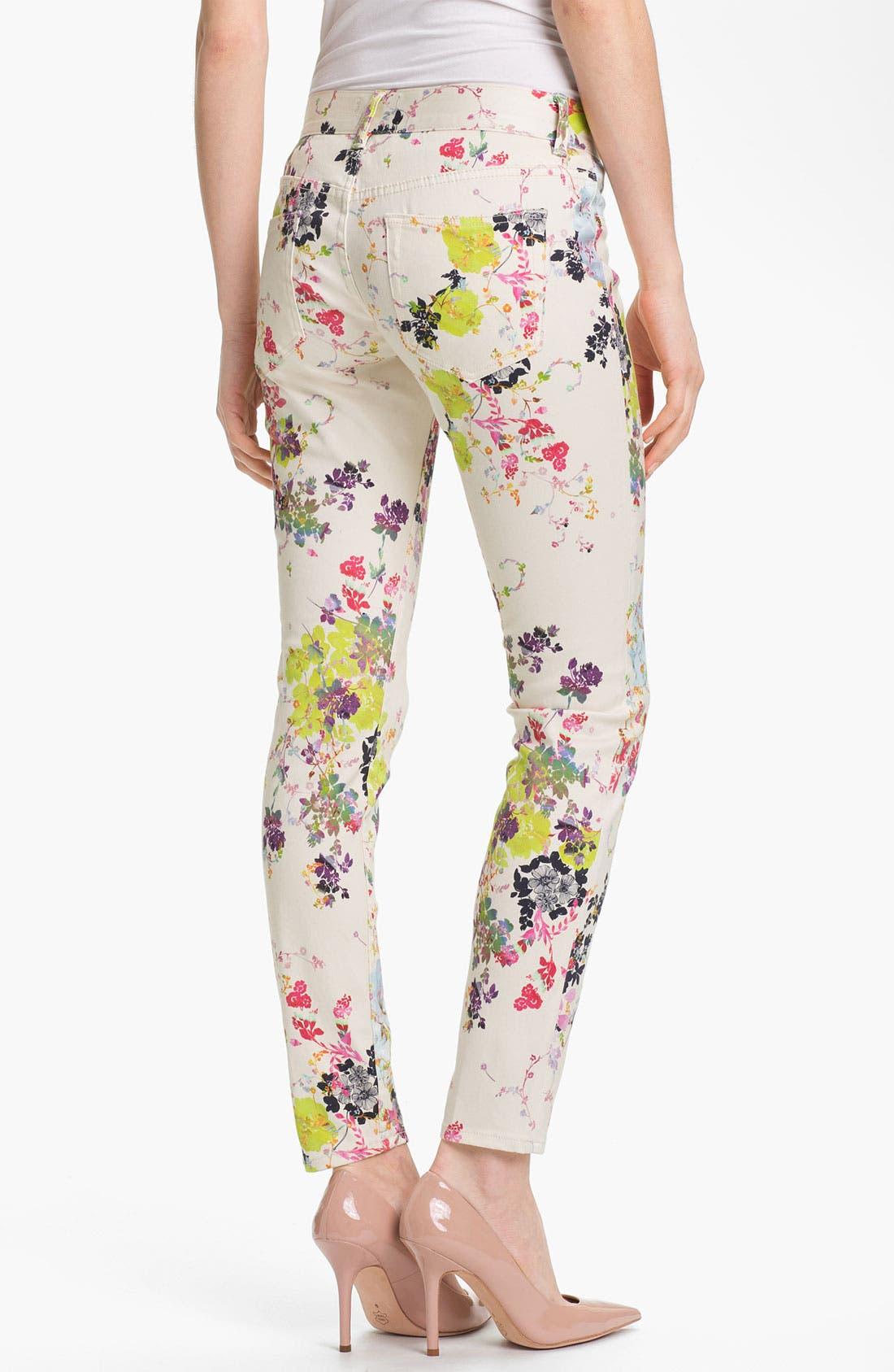 Alternate Image 2  - Ted Baker London 'Summer Bloom' Print Skinny Stretch Crop Jeans (Cream)