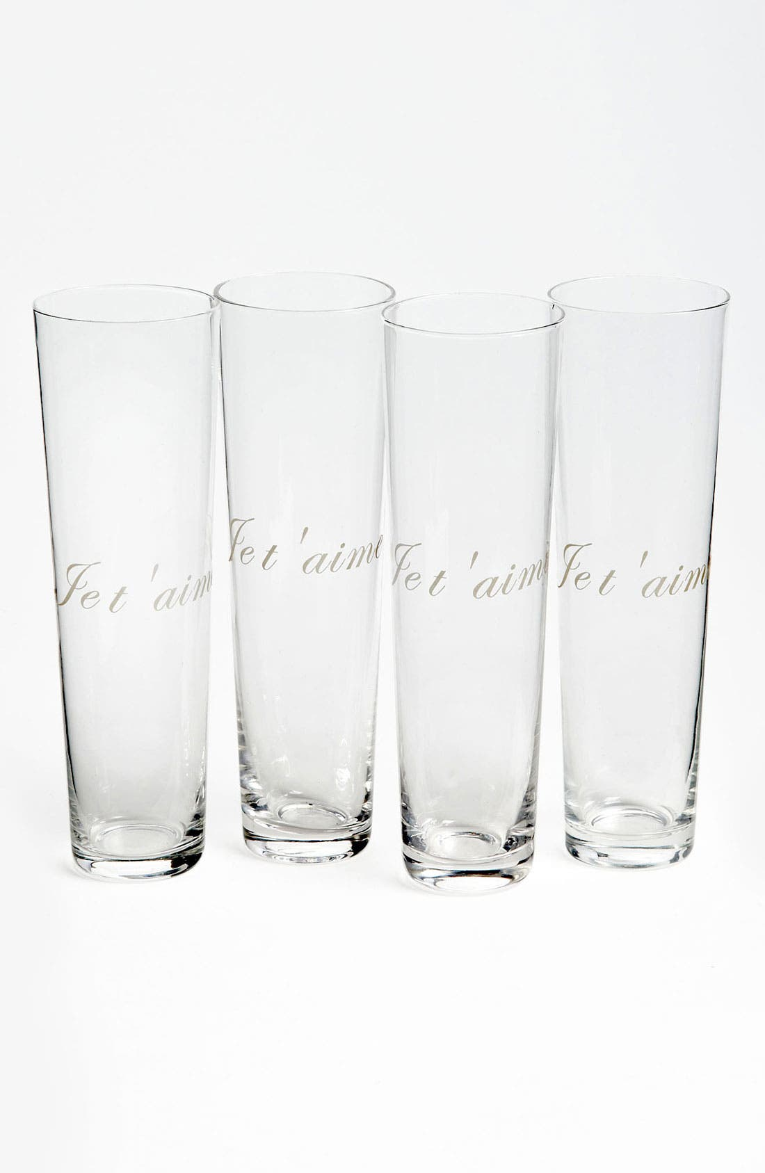 Main Image - 'Je t'aime' Etched Champagne Flutes (Set of 4)