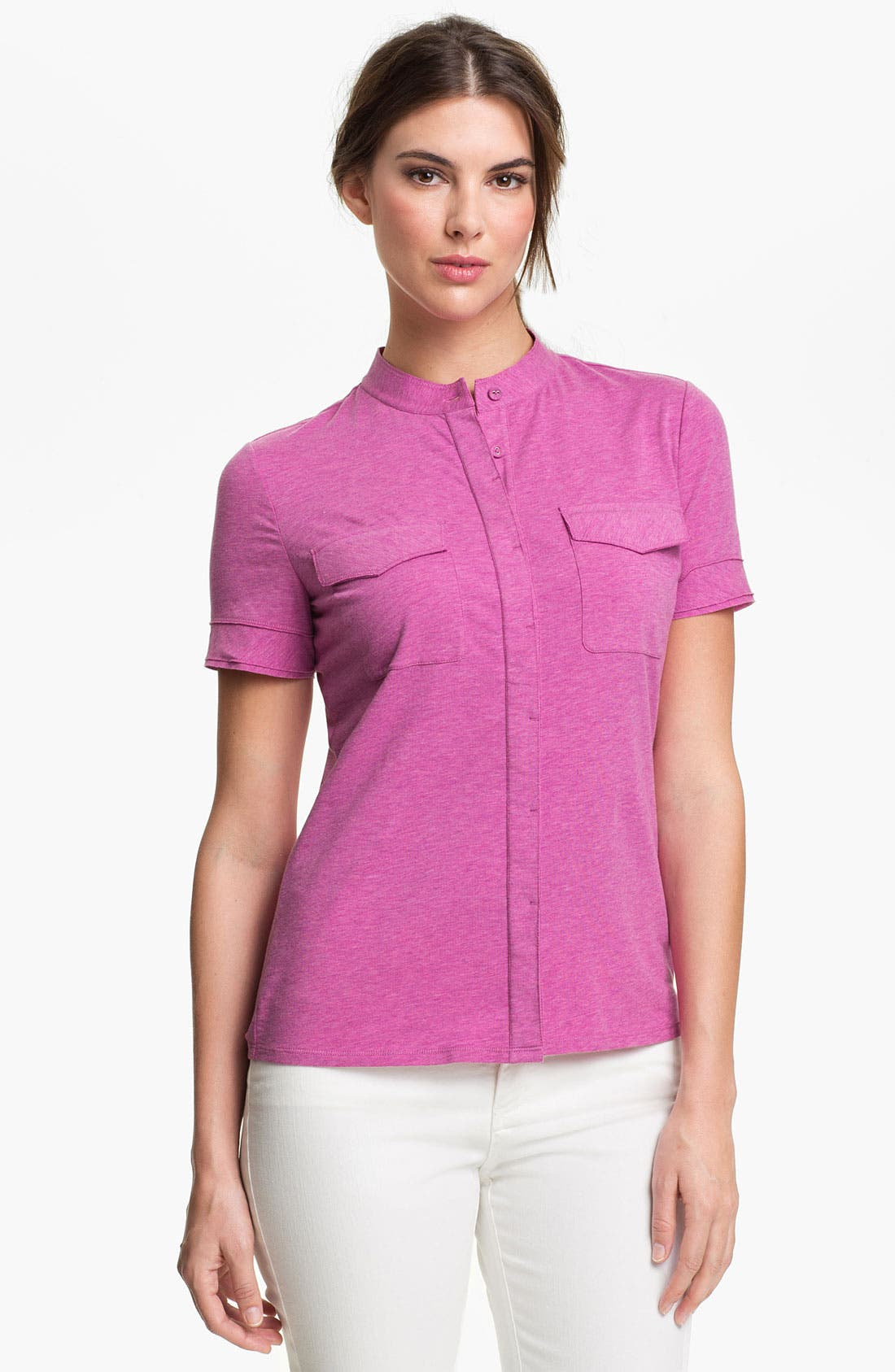 Main Image - Lafayette 148 New York Mélange Jersey Top