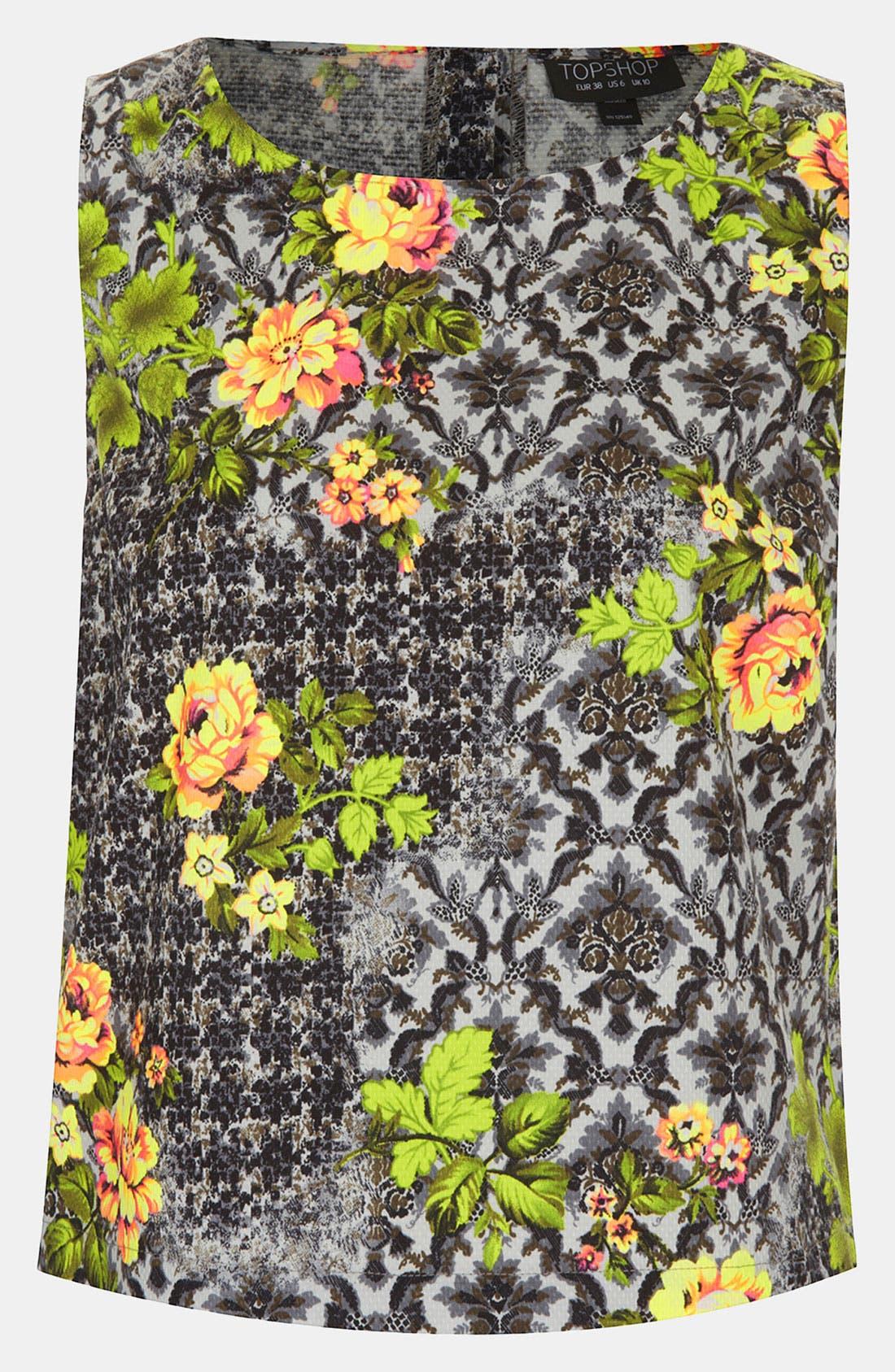 Main Image - Topshop 'Acid Leaf' Sleeveless Shirt