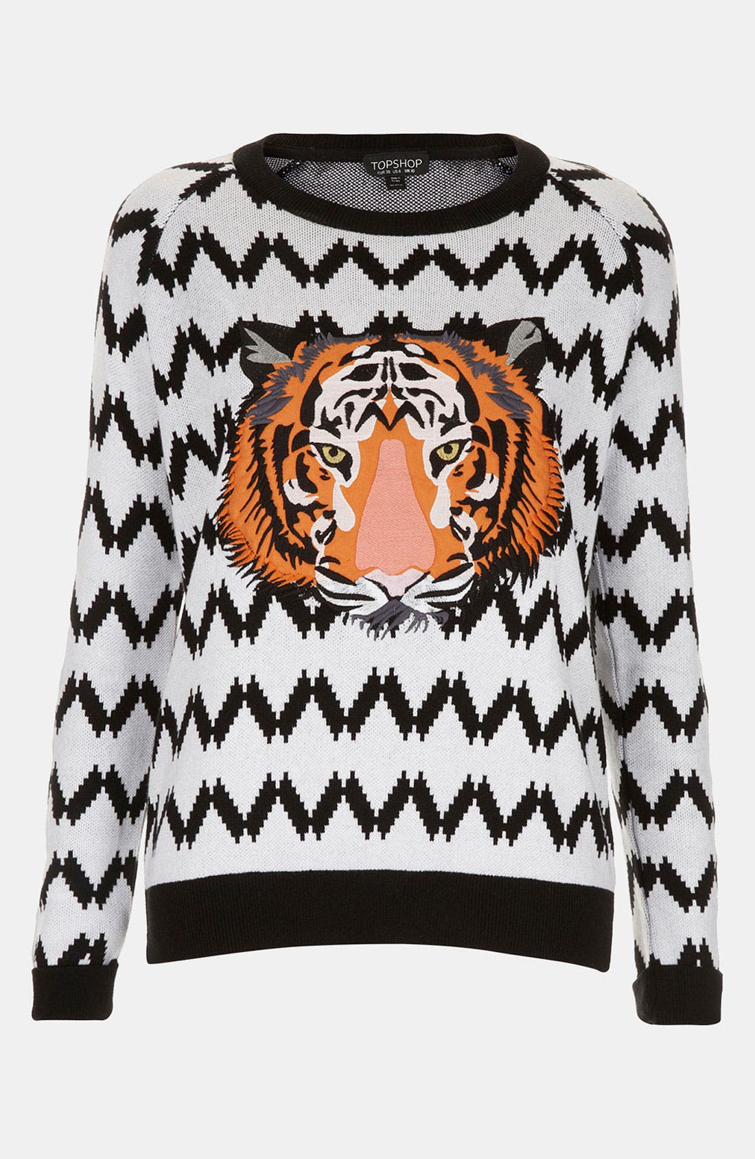 Alternate Image 1 Selected - Topshop Embroidered Tiger Sweater