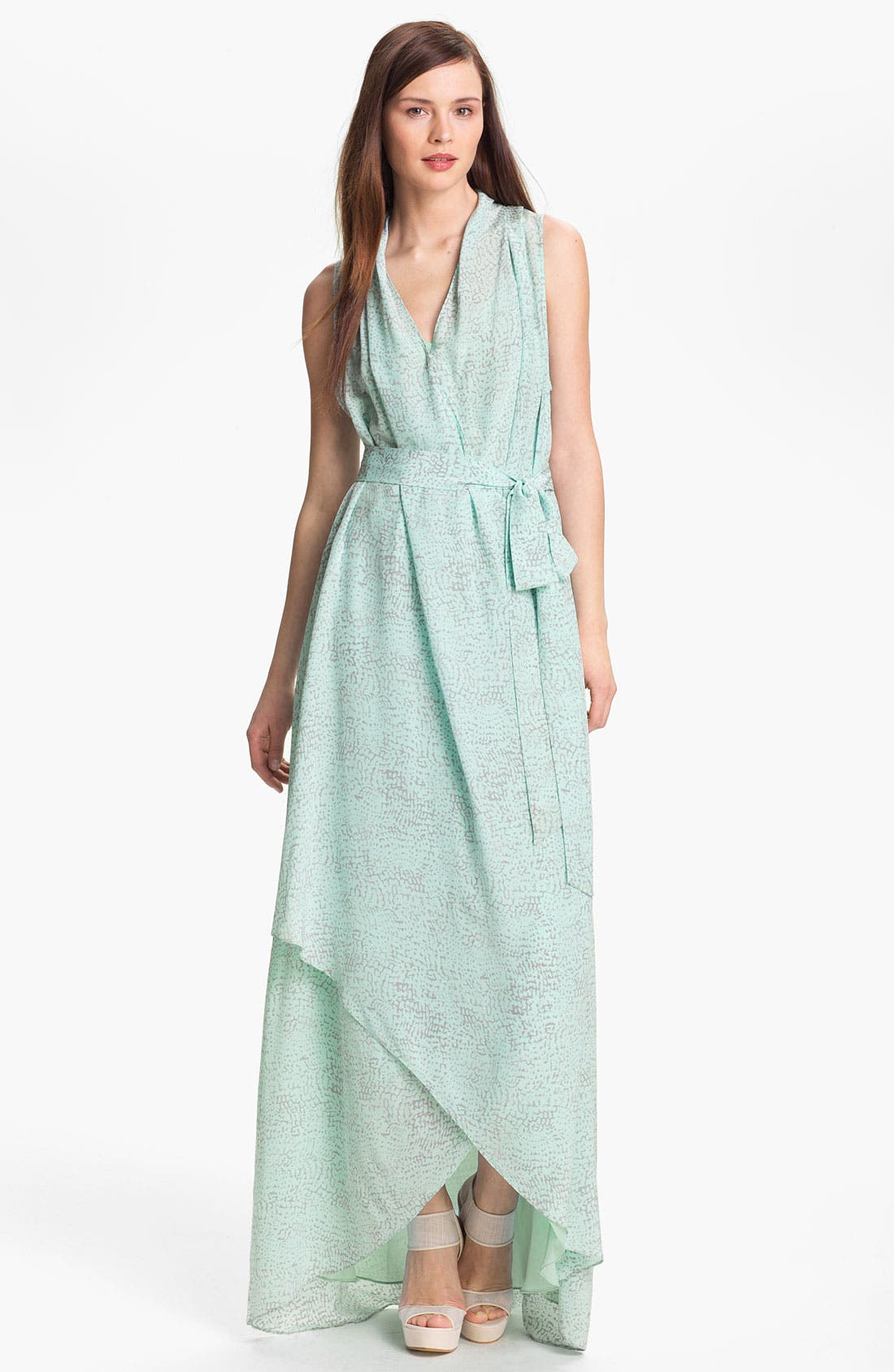 Alternate Image 1  - Rachel Zoe 'Celine' Print High/Low Silk Gown