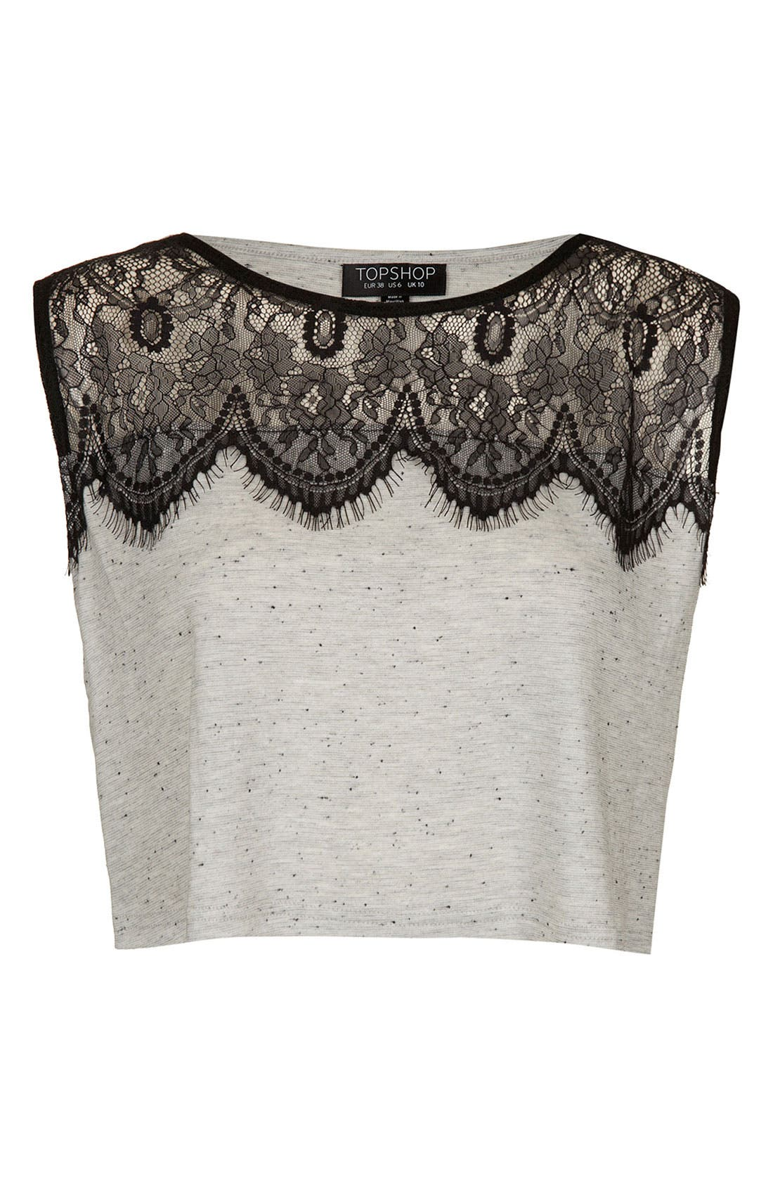 Main Image - Topshop Eyelash Lace Crop Tank Top
